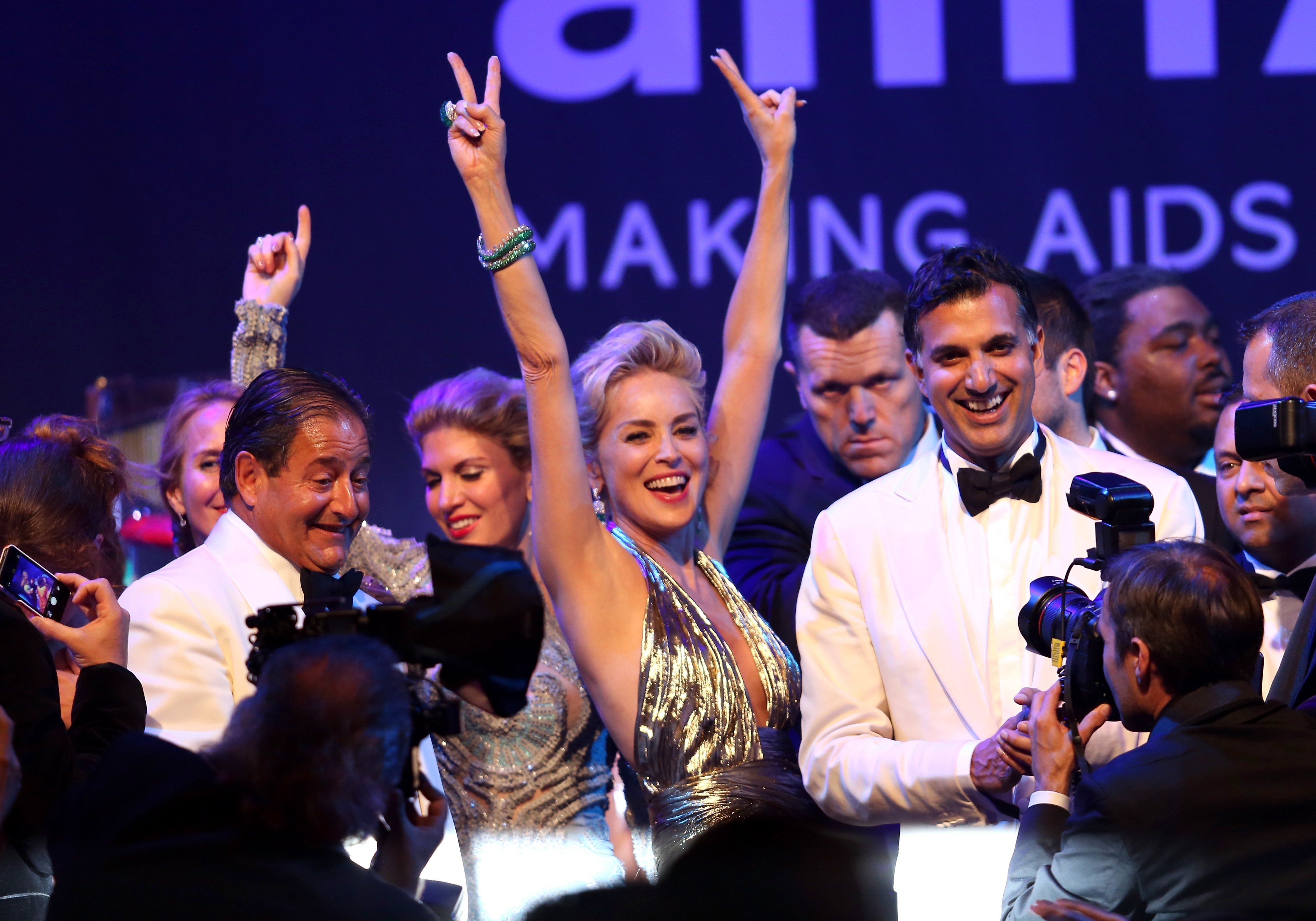 Sharon Stone appears onstage during amfAR's 21st Cinema Against AIDS Gala at Hotel du Cap-Eden-Roc on Thursday in Cap d'Antibes, France.