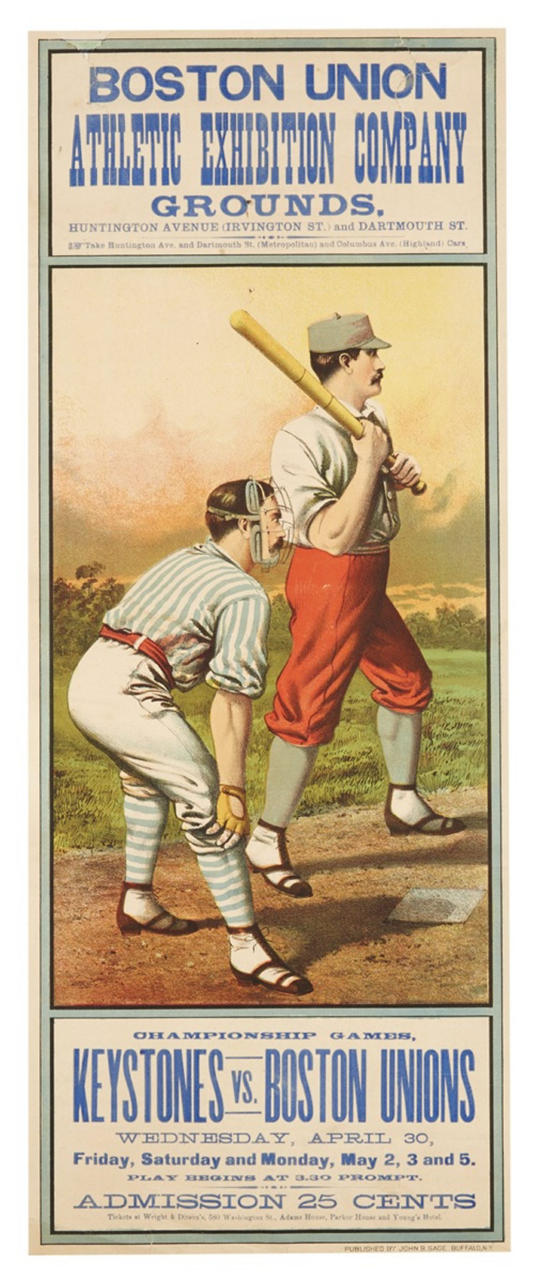 A lithographed poster showing two baseball players competing in Boston in 1884 sold for $15,000 at an April 2014 Bonhams auction in New York City.