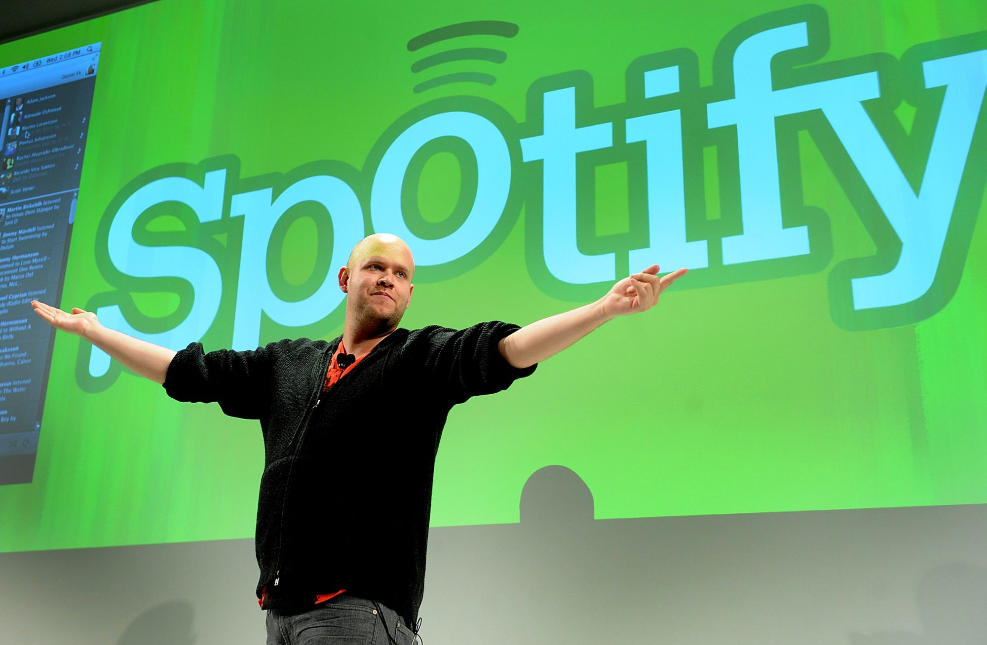 Daniel Ek, chief executive officer of Spotify Ltd., speaks at a news conference in New York, U.S., on Wednesday, Nov. 30, 2011. Spotify Ltd., the music-streaming service, will open its site to software developers to attract new users with features such as ticket sales and song lyrics. Photographer: Louis Lanzano/ Bloomberg *** Local Caption *** Daniel Ek