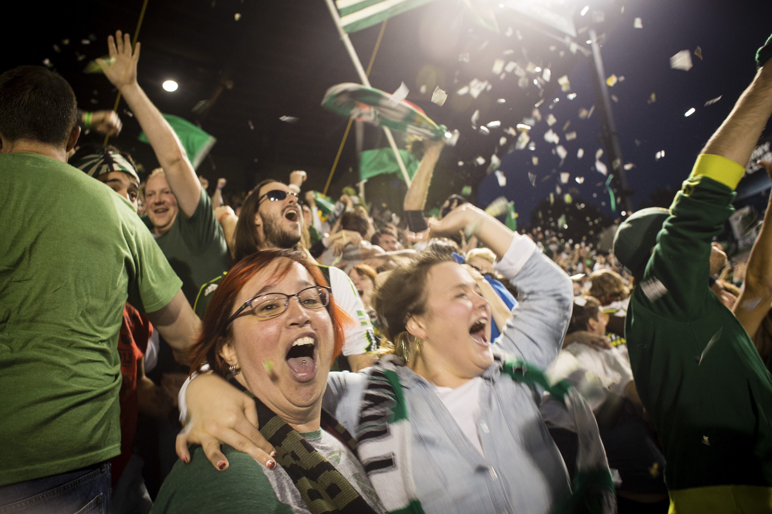 The crowd gets loud as members of the Timbers Army, Portland's fan club, celebrate a goal against the Seattle Sounders in Portland, Ore.