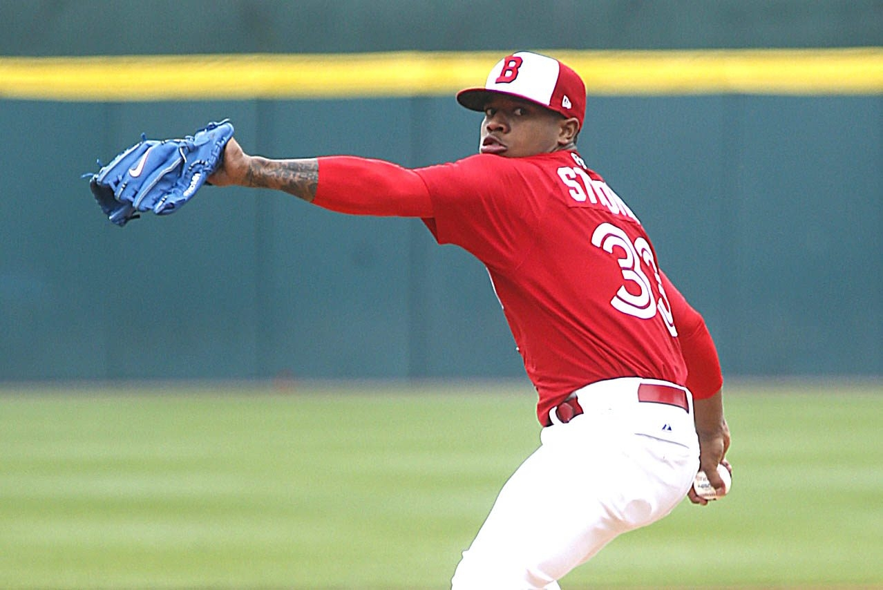 Marcus Stroman started on the mound today at Coca Cola Field on Tuesday, May 20, 2014.  (Robert Kirkham/Buffalo News)