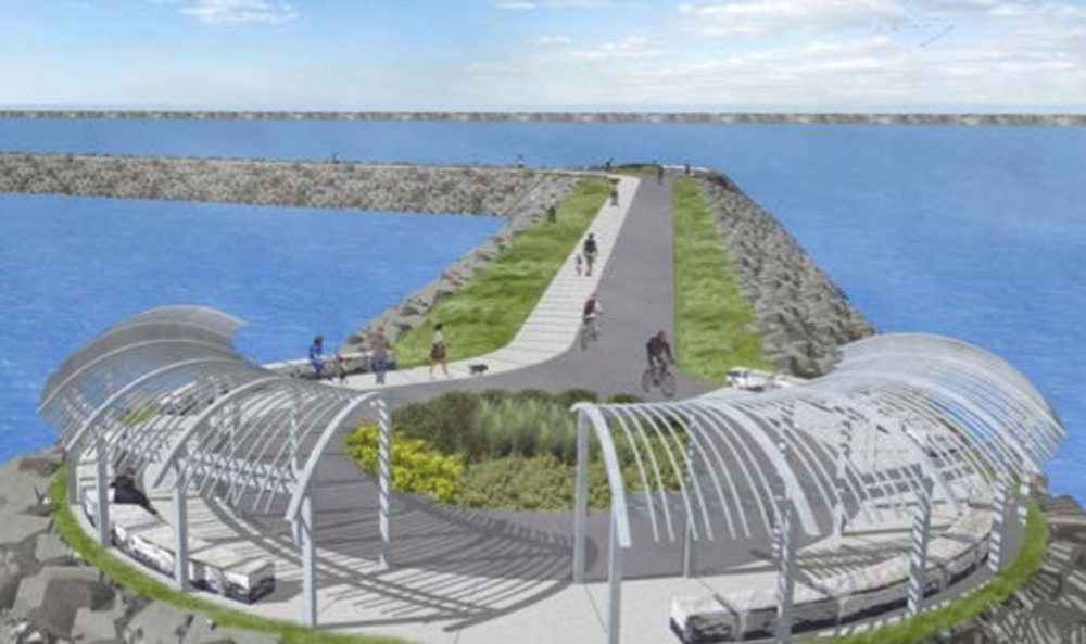 This is a drawing for a proposed promenade at the Buffalo Harbor State Park.