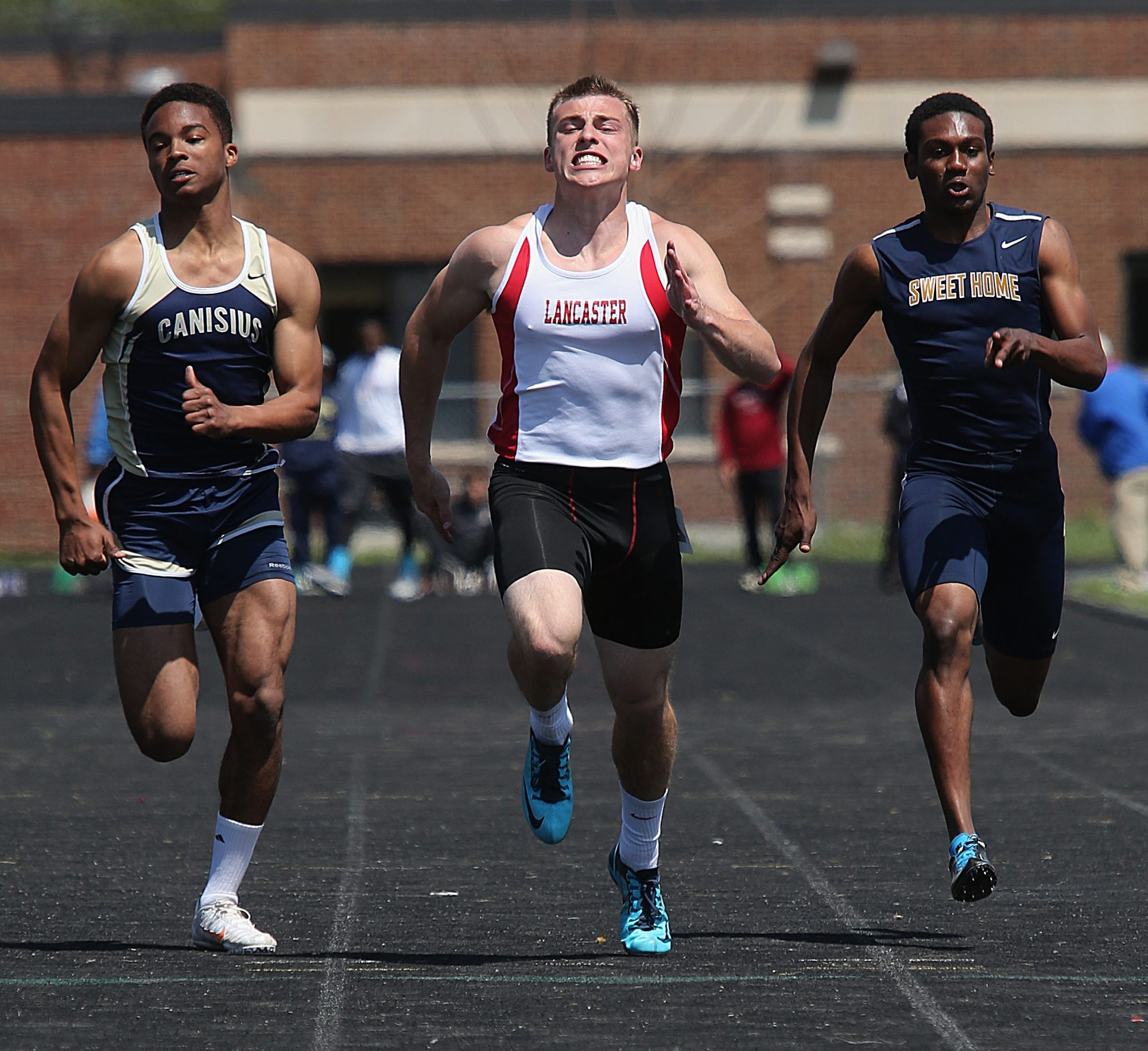 Lancaster's Mitch Fuller shares the best time in the 100 meters.