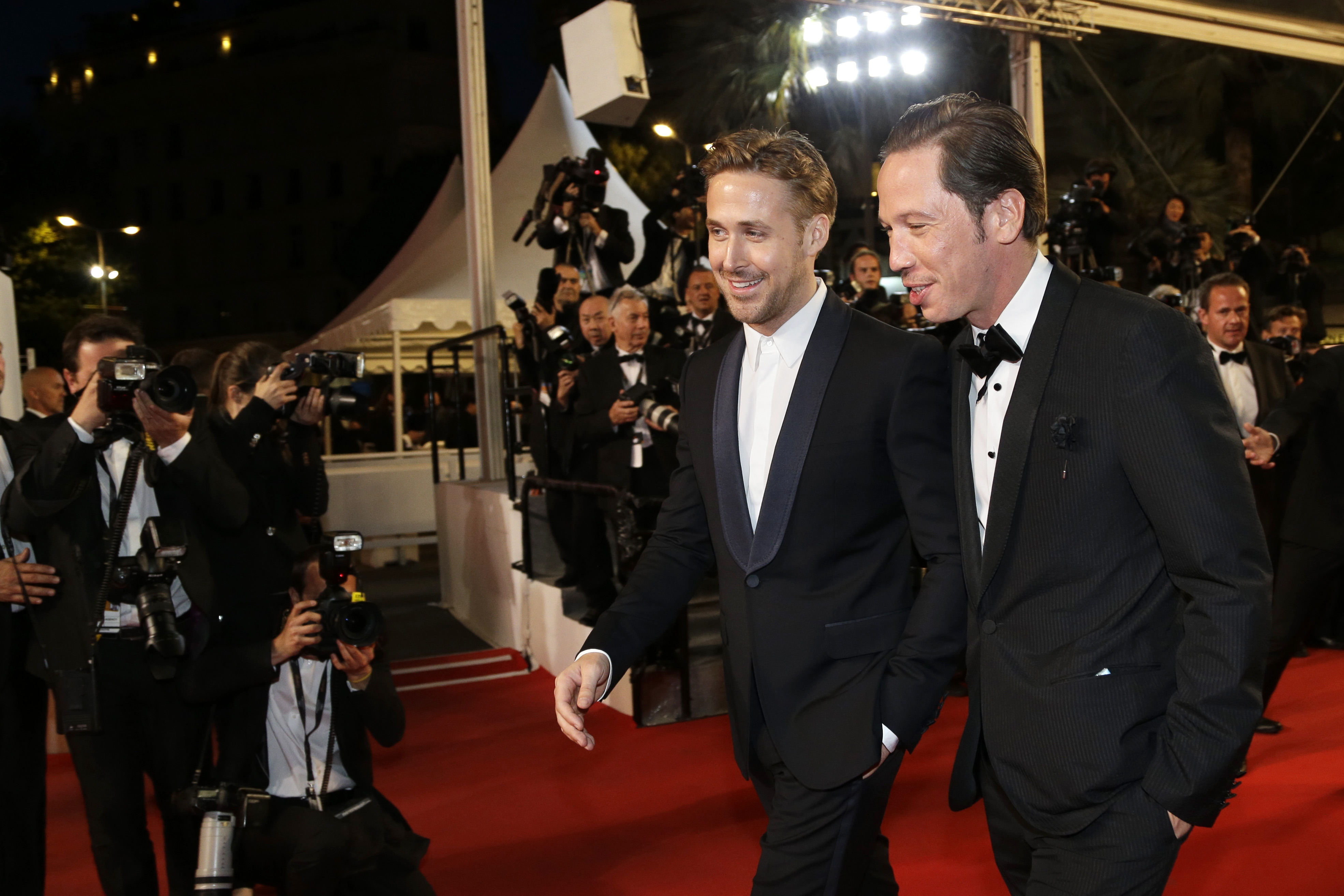 """""""Lost River"""" director Ryan Gosling, center, and actor Reda Kateb arrive for a screening in Cannes, France, on Tuesday."""