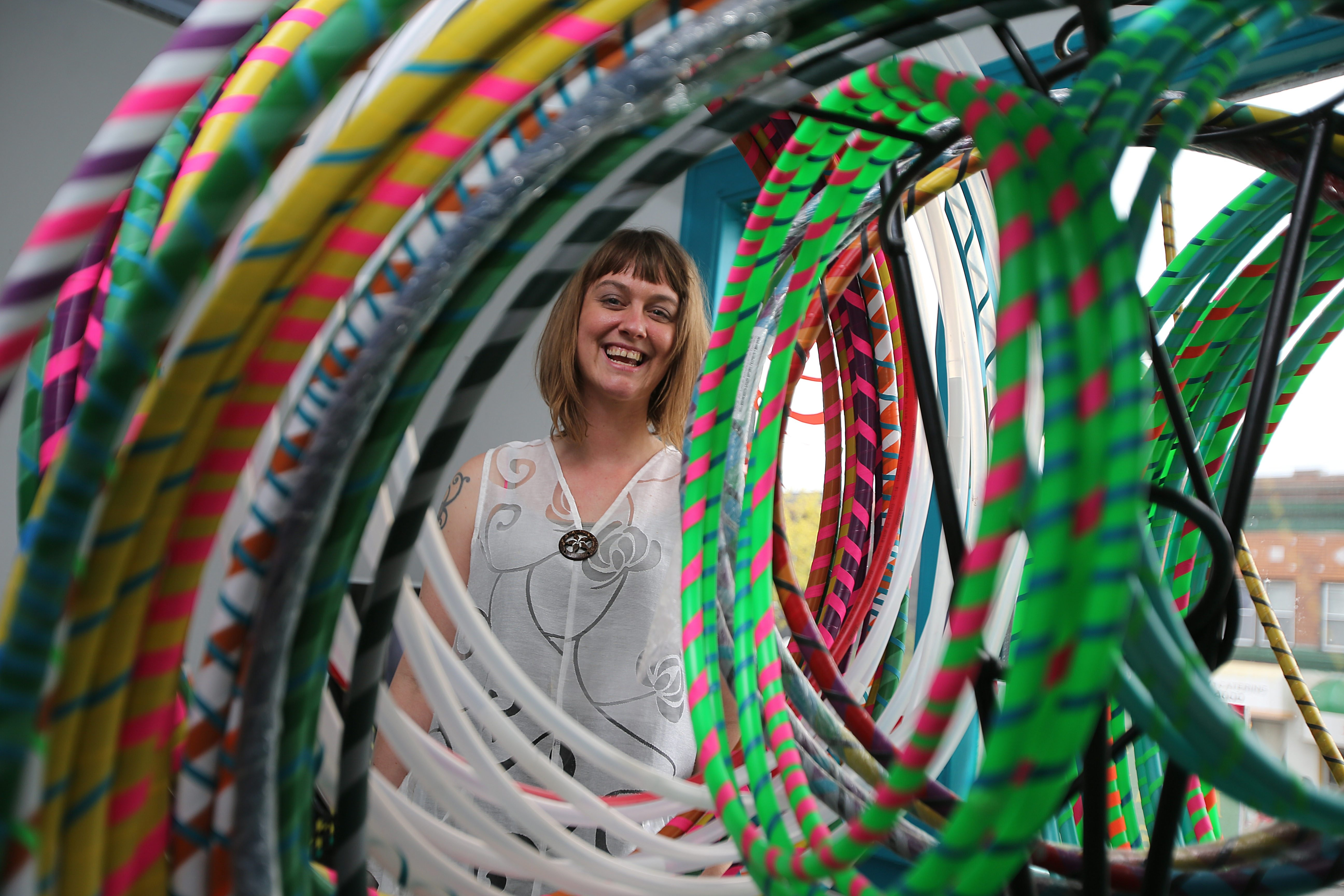 """Melissa Campbell, organizer of next Saturday's """"Hoopathon"""" at SUNY Buffalo State, has a hoop for you at her shop, Filigrees, on Elmwood Avenue."""