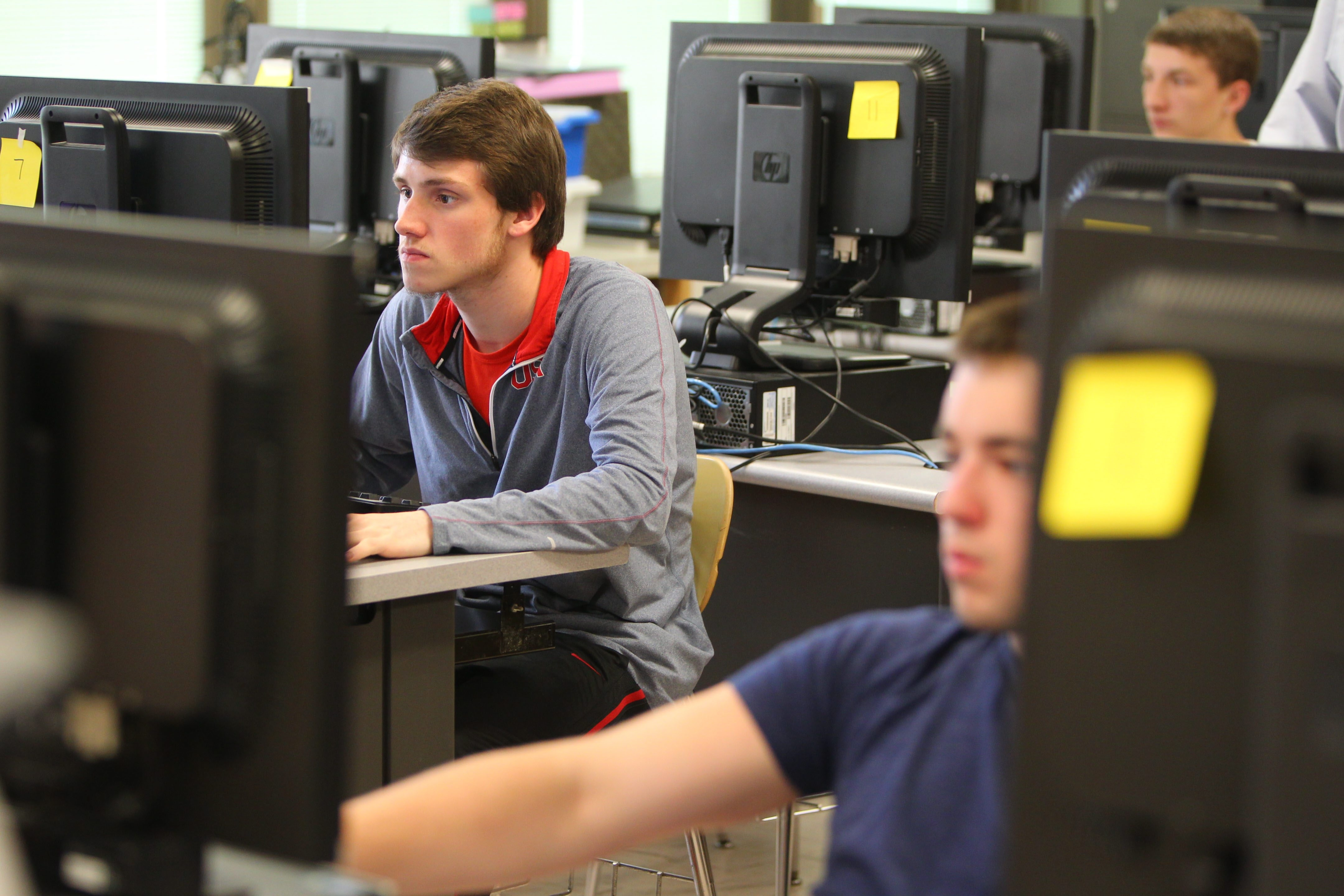 Students in the Cheektowaga-Sloan school district work on a project in a CAD (computer-aided drafting) class at John F. Kennedy High School recently.