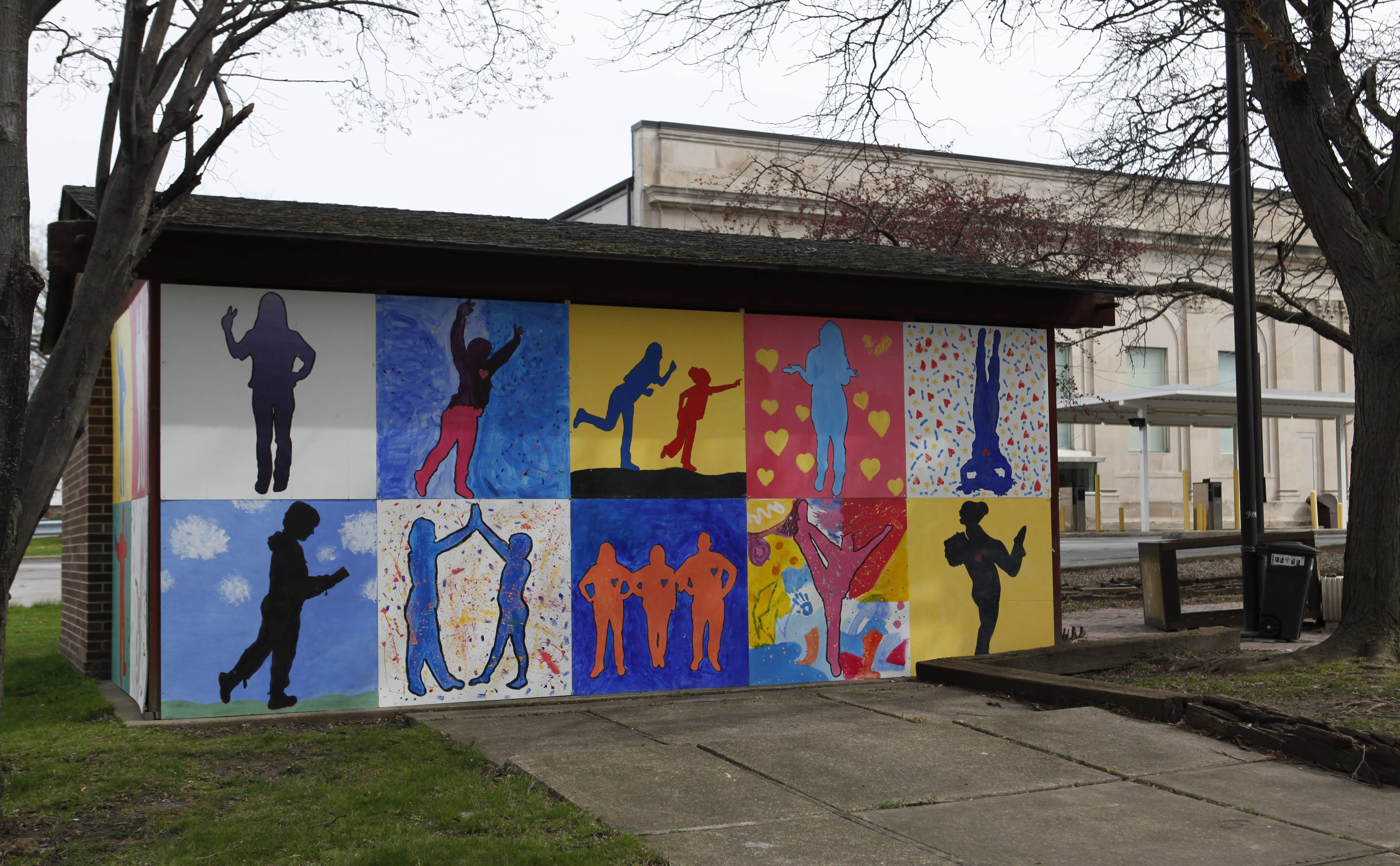 Students in the Niagara Liberty program, a drop-out prevention program in Niagara Falls, recently painted a mural on this building in Hydraulic Park. Lockport artist Alec Maslowski helped the students with their painting.