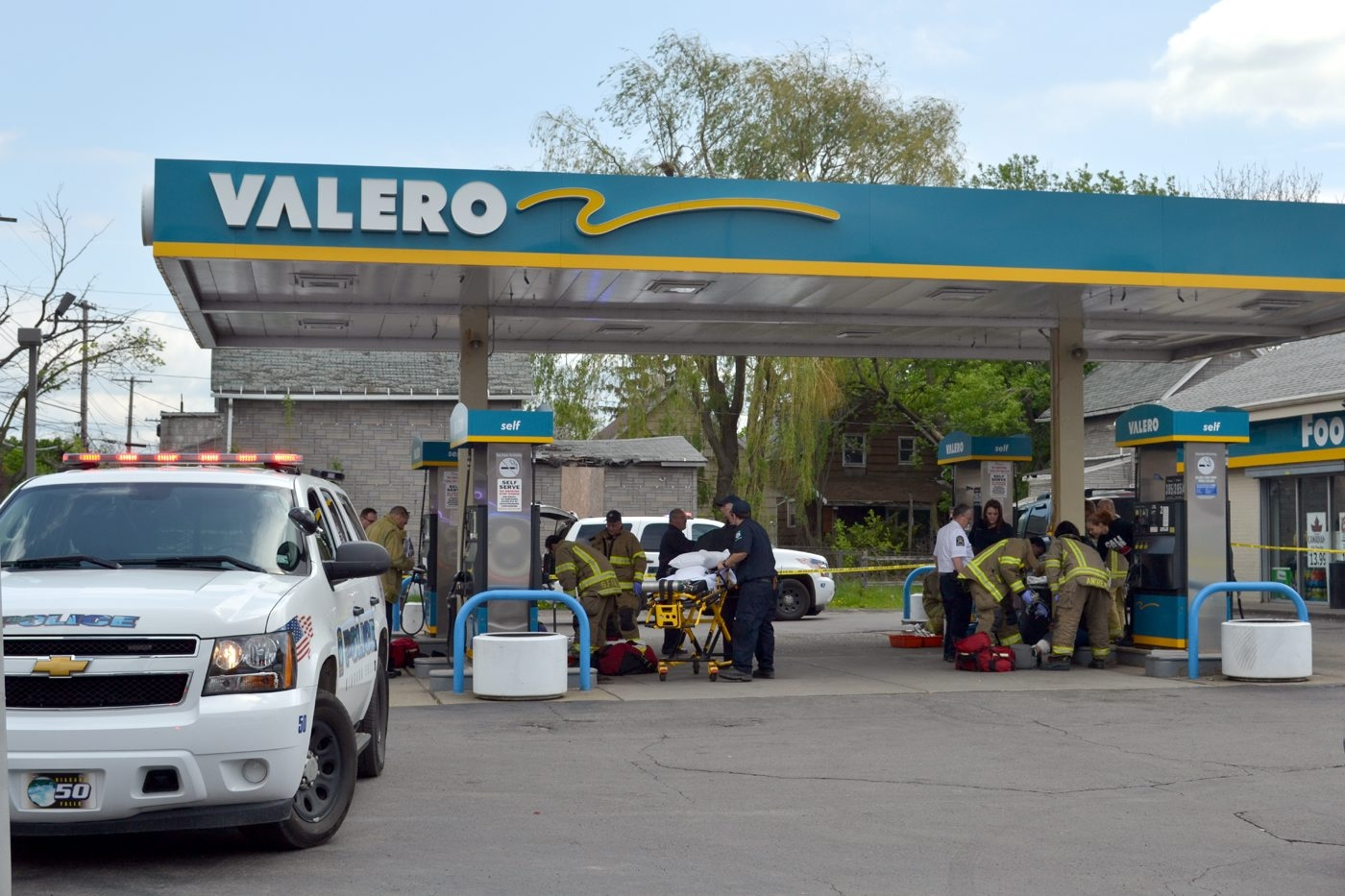The Valero gas station, 19th Street and Ferry Avenue in Niagara Falls, was the scene of a shooting that injured three people on Saturday.