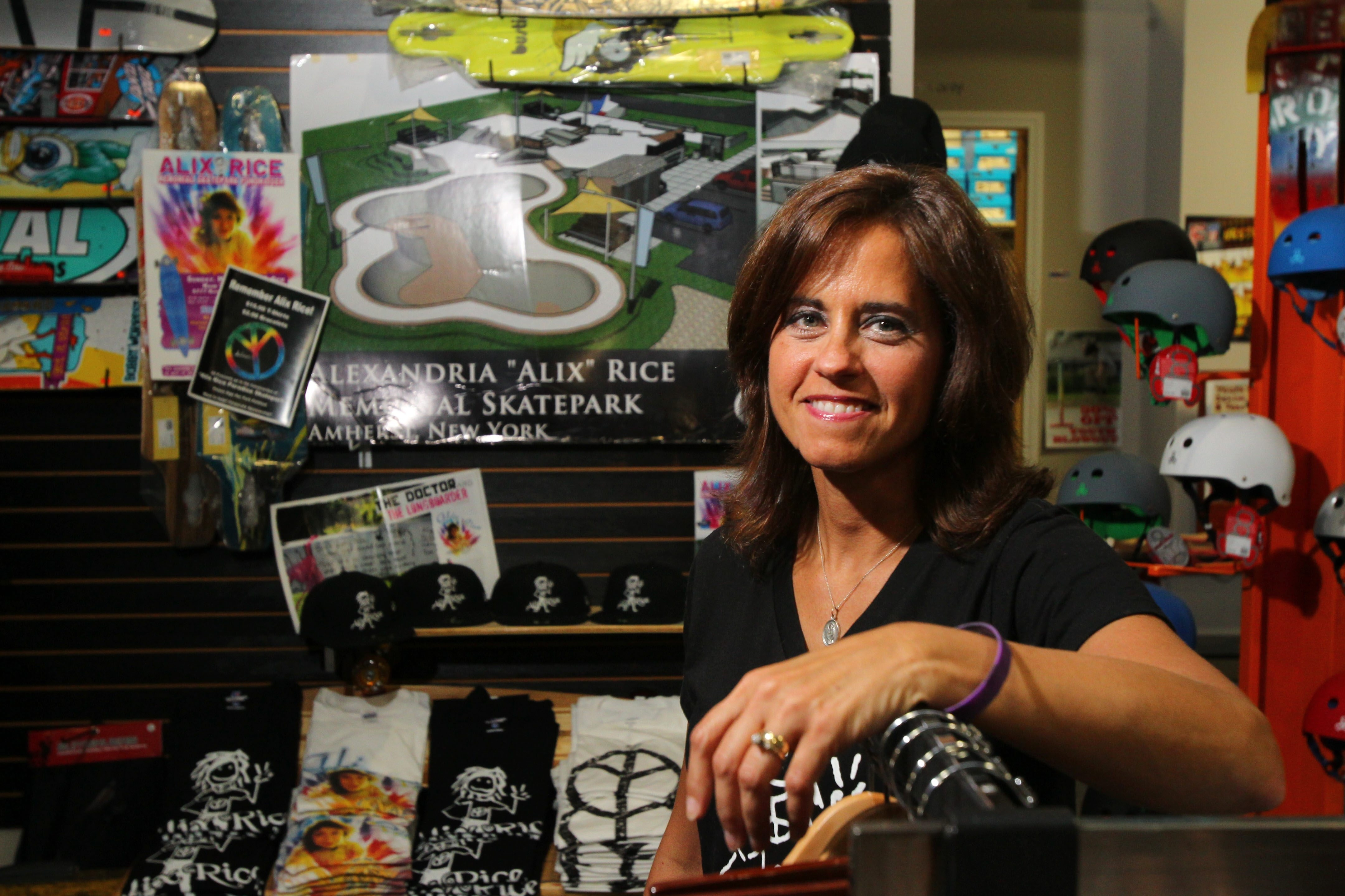 Frances Knab of Getzville has been one of the driving forces behind the creation of a skatepark in Amherst, which will be a memorial to Alix Rice, the 18-year-old long boarder who was killed in 2011 by a drunk driver.