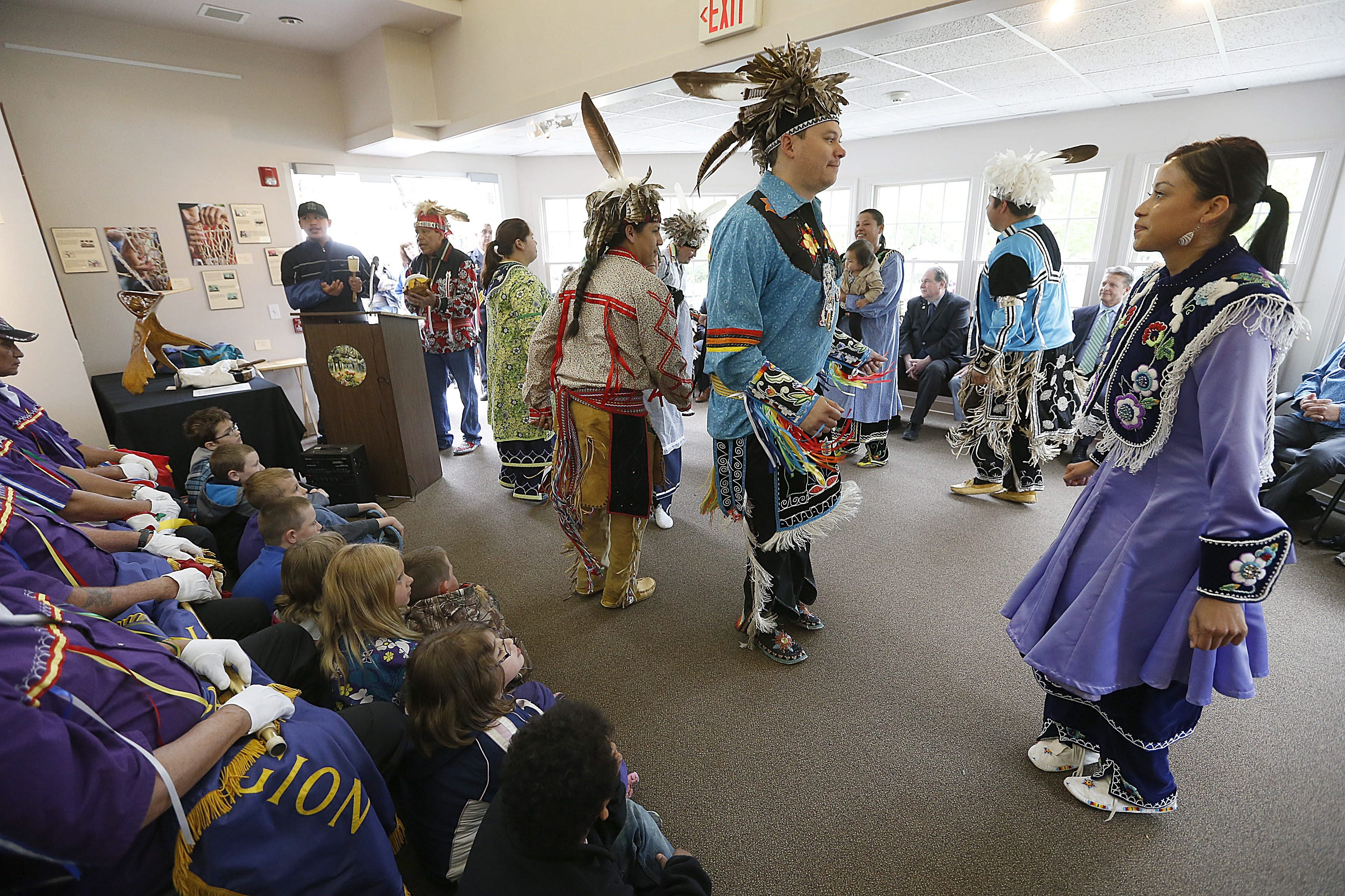 Iroquois traditional dancers perform during the annual Buffalo Creek Treaty of 1842 commemoration ceremony at the Burchfield Nature & Art Center in West Seneca on Friday.