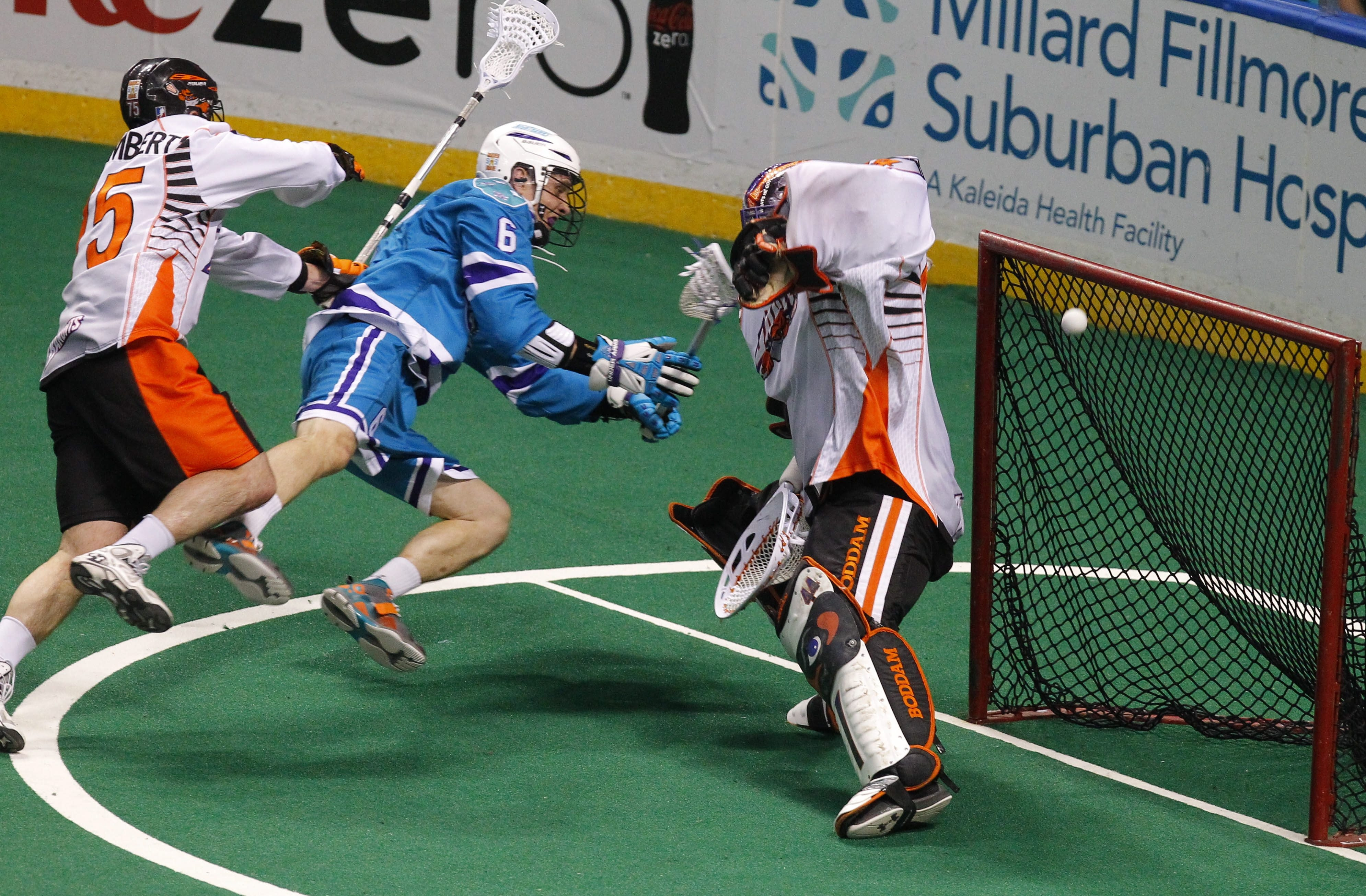 Buffalo's Jay Thorimbert, left, has been part of a defensive rebound  that has the Bandits in a good position against Rochester.