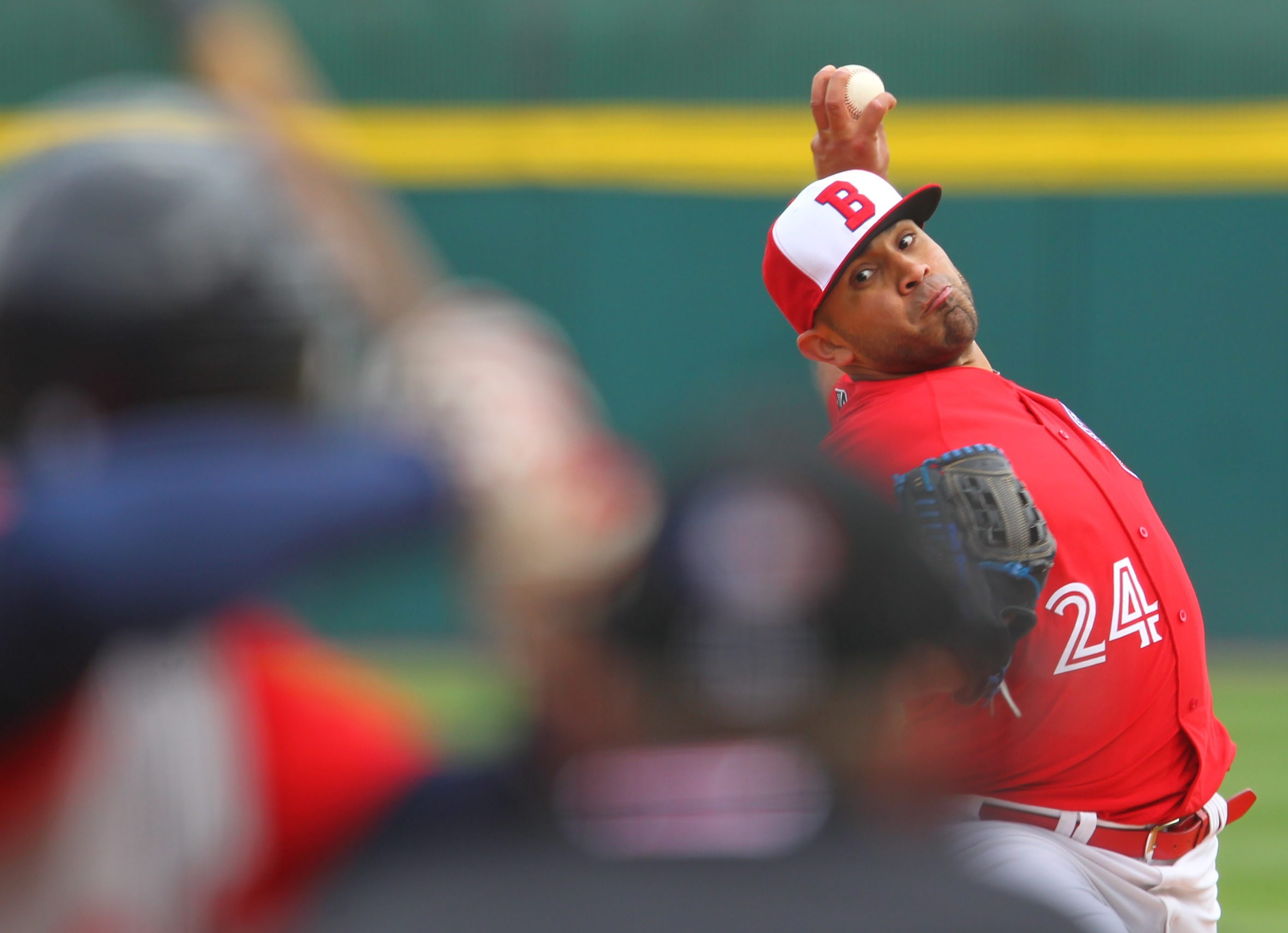 Bisons left-hander Ricky Romero walked five straight batters after getting outs in the second inning against Gwinnett.