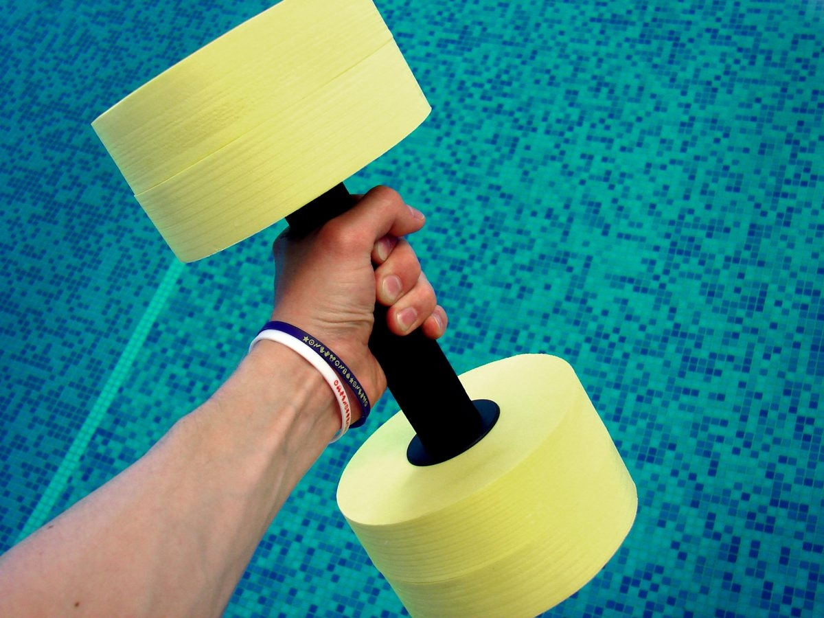 You can use special weights that float during water workouts.