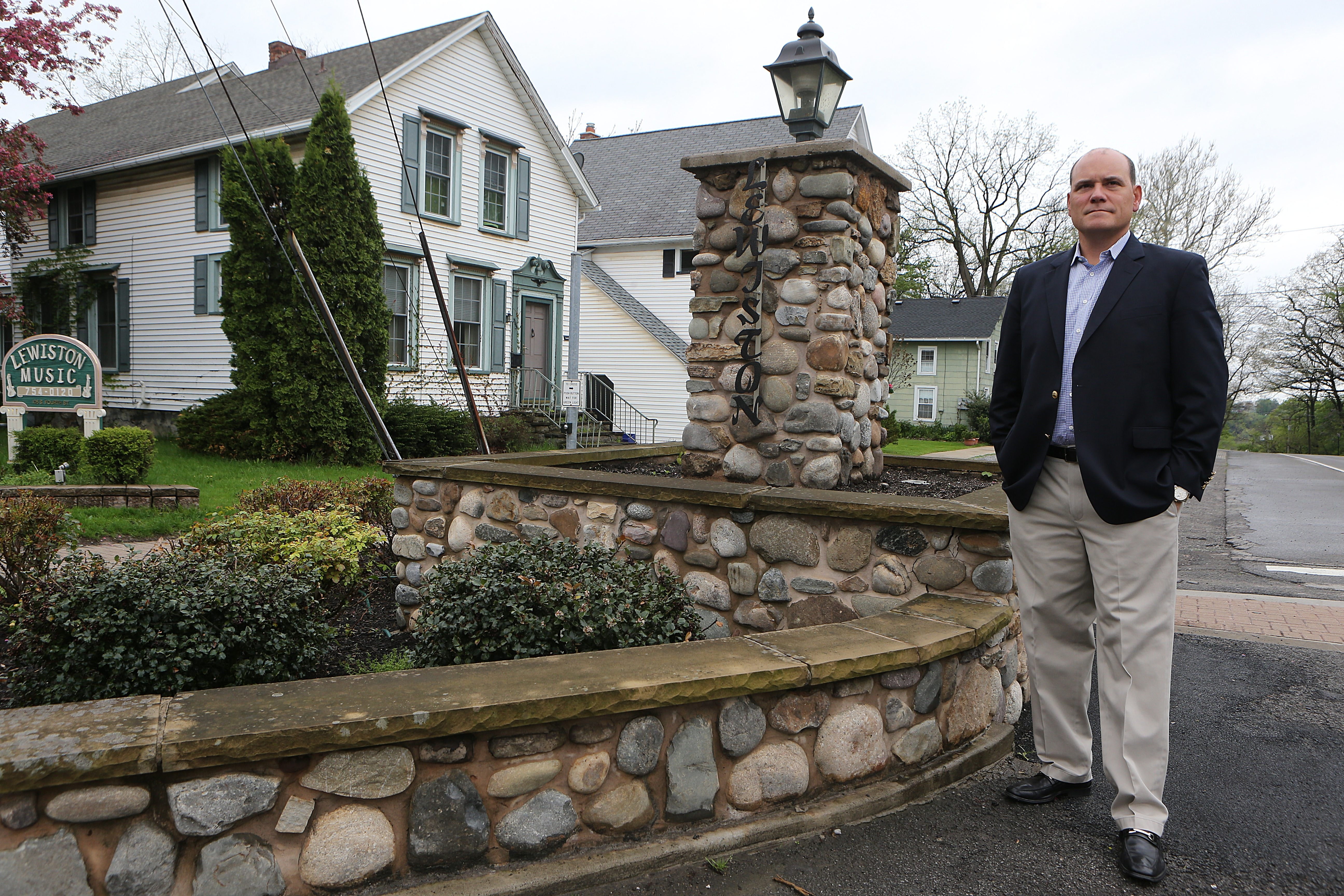 Russ Conrad has been investing in Lewiston properties and has donated a stone wall he had constructed to the village.