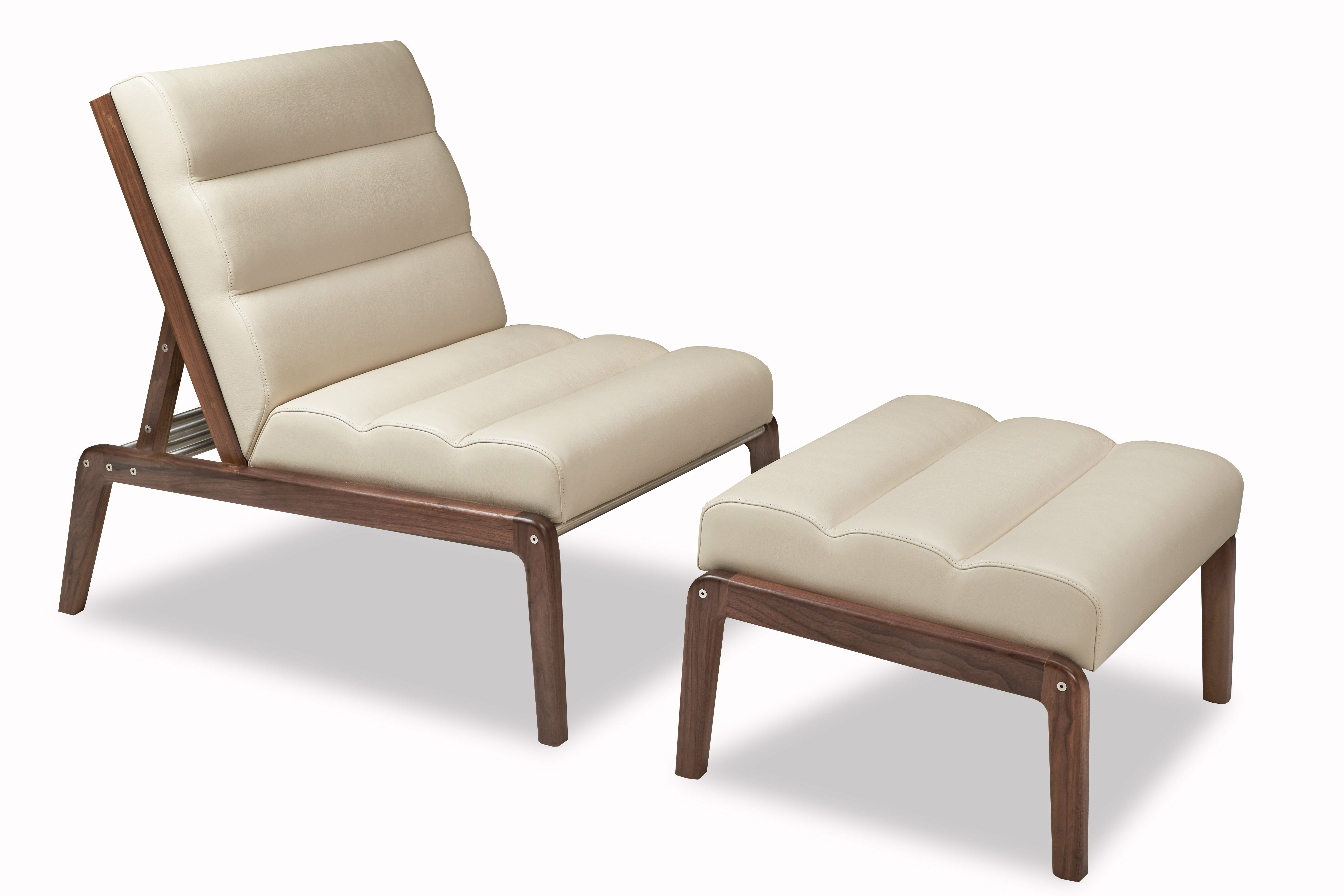 Take a seat: The Morris cair and Knox daybed are from American Leather's American Walnut collection.