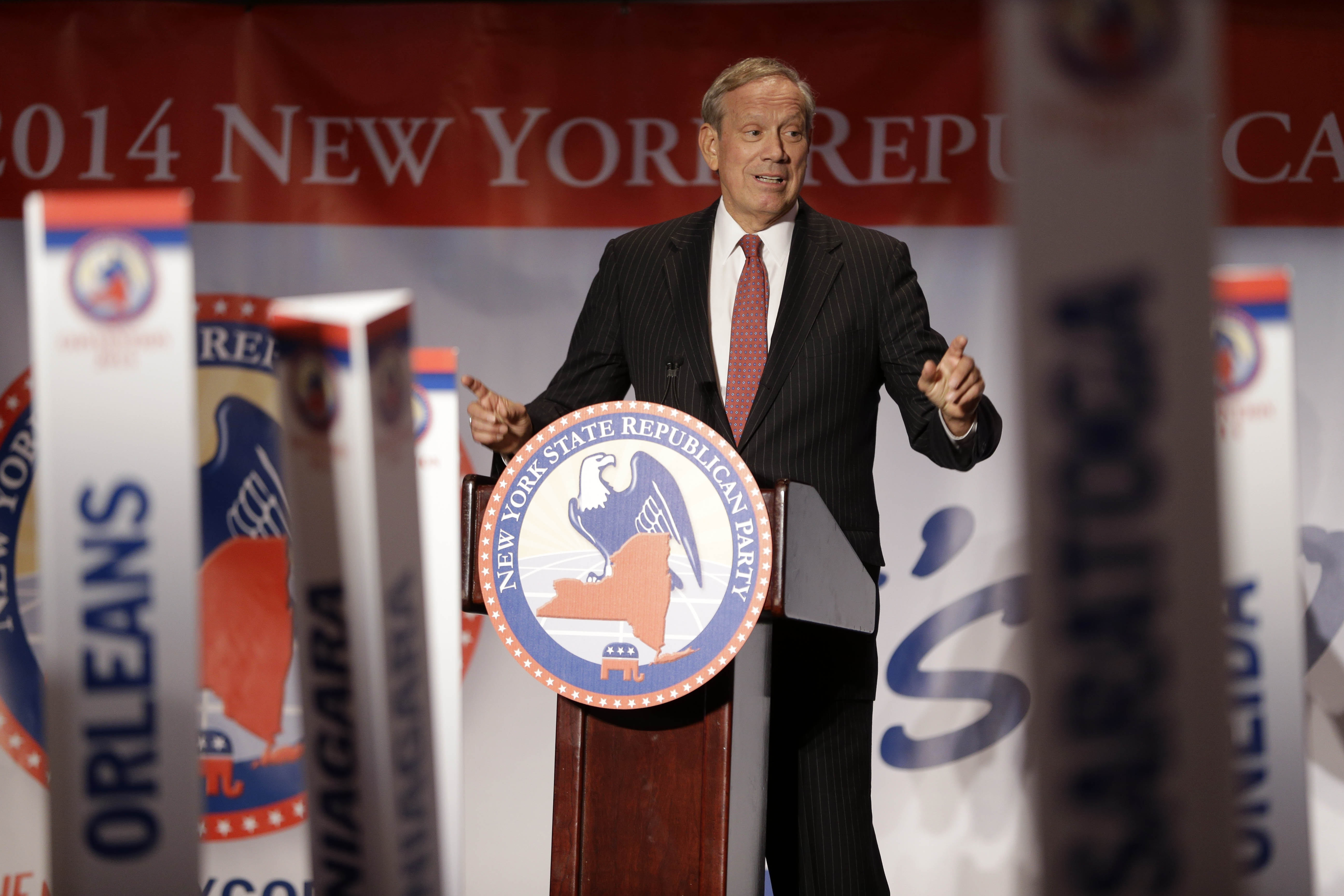 Former three-term Gov. George Pataki speaks during GOP State Convention in Rye Brook, citing the need for Republicans to appeal across party lines so they can make Albany work.