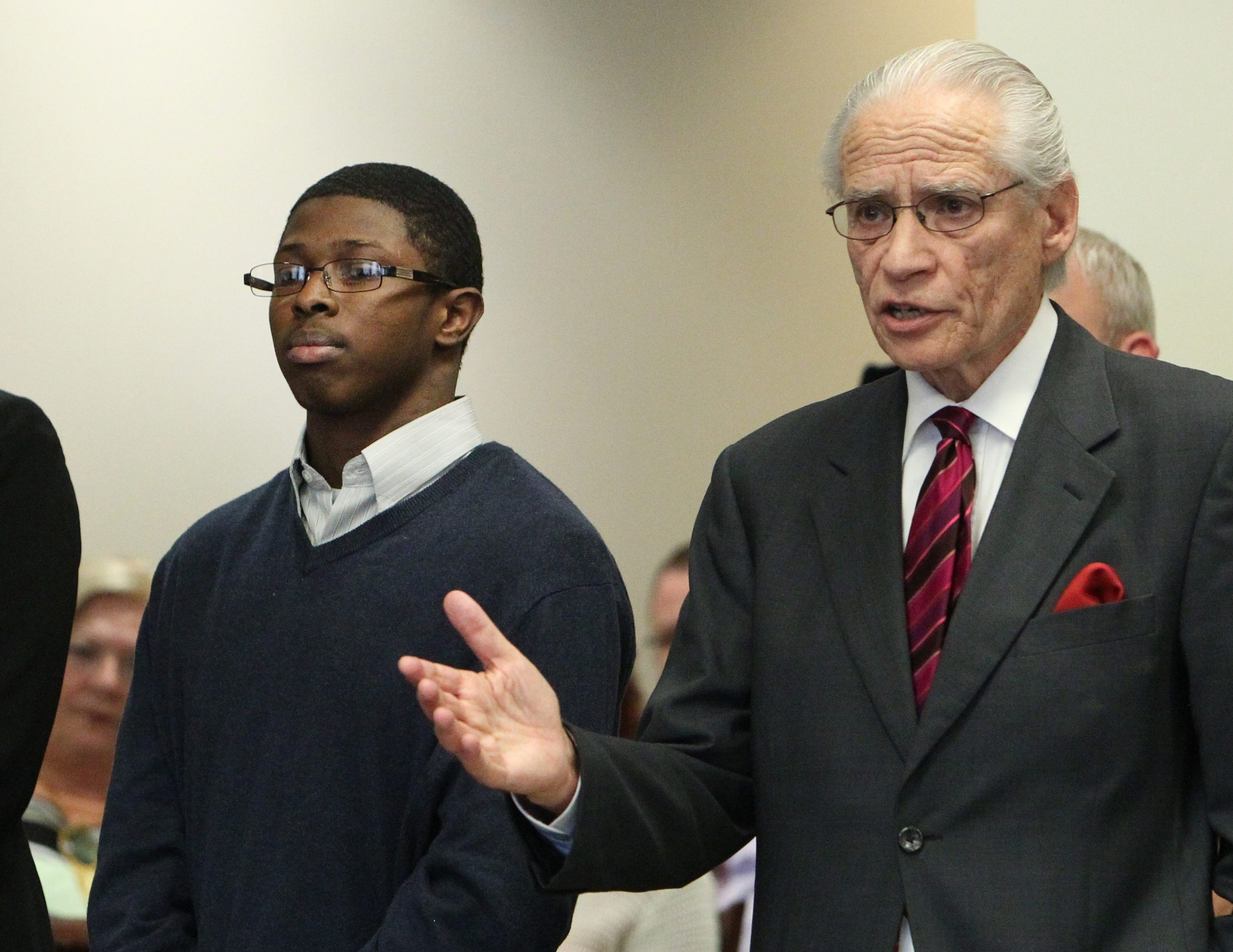 Attorney Joel Daniels speaks in court today, in an unsuccessful attempt to get his client, Shaquar Pratcher, 18, a 15-year-to-life minimum sentence.