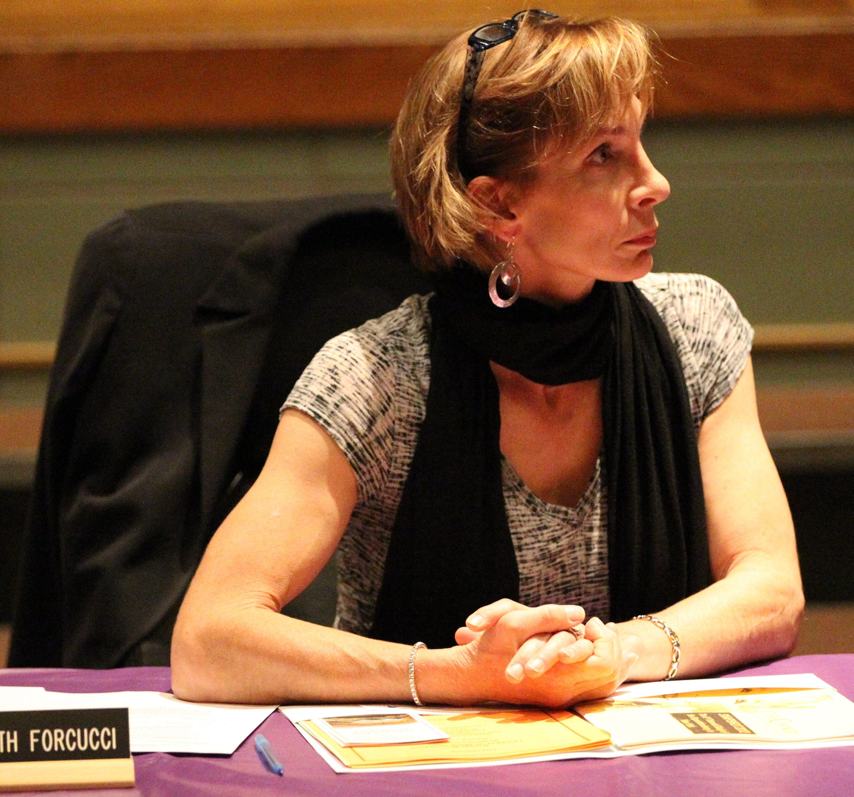 Catherine Schrauth Forcucci argues that School Board President David Yoviene should not have voted on the charges against her.  (James P. McCoy/ Buffalo News file photo)