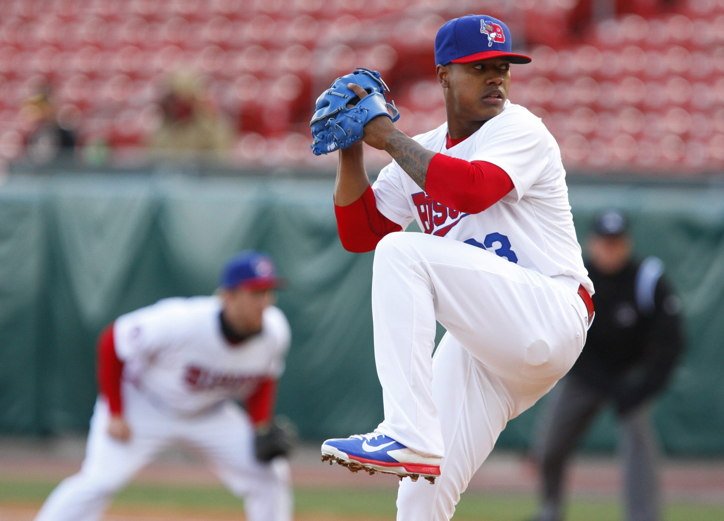 In just five starts with the Bisons, left above, Marcus Stroman had a 1.69 ERA, 36 strikeouts and seven walks. The Blue Jays called him up after he pitched a no-hitter for six innings and are working him out of the bullpen.