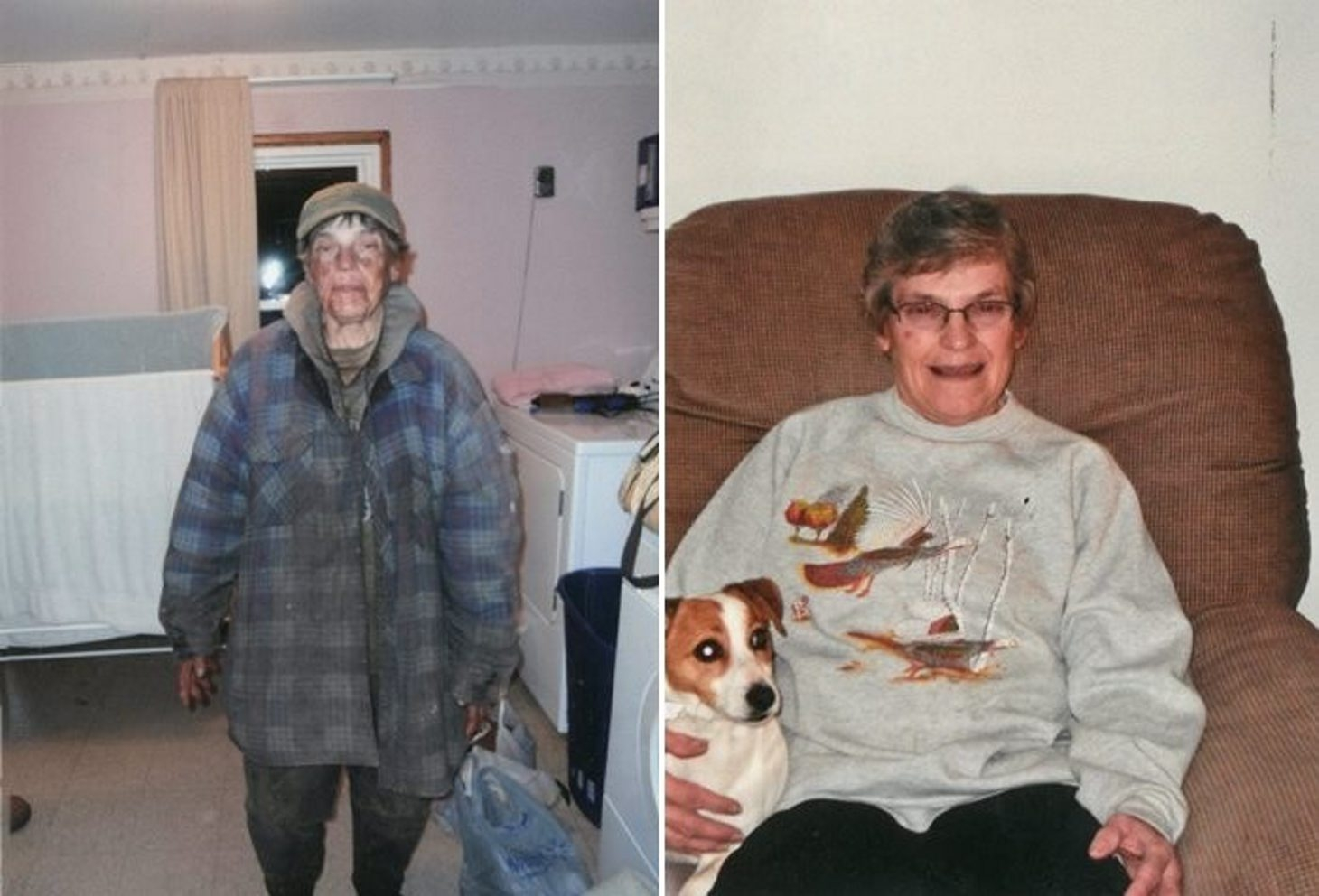 In October 2013, Mary Lou Steff, left, appeared at her nephew's home in worn clothing with her face covered in grime. By December, right, her hair had been styled and she had new glasses.