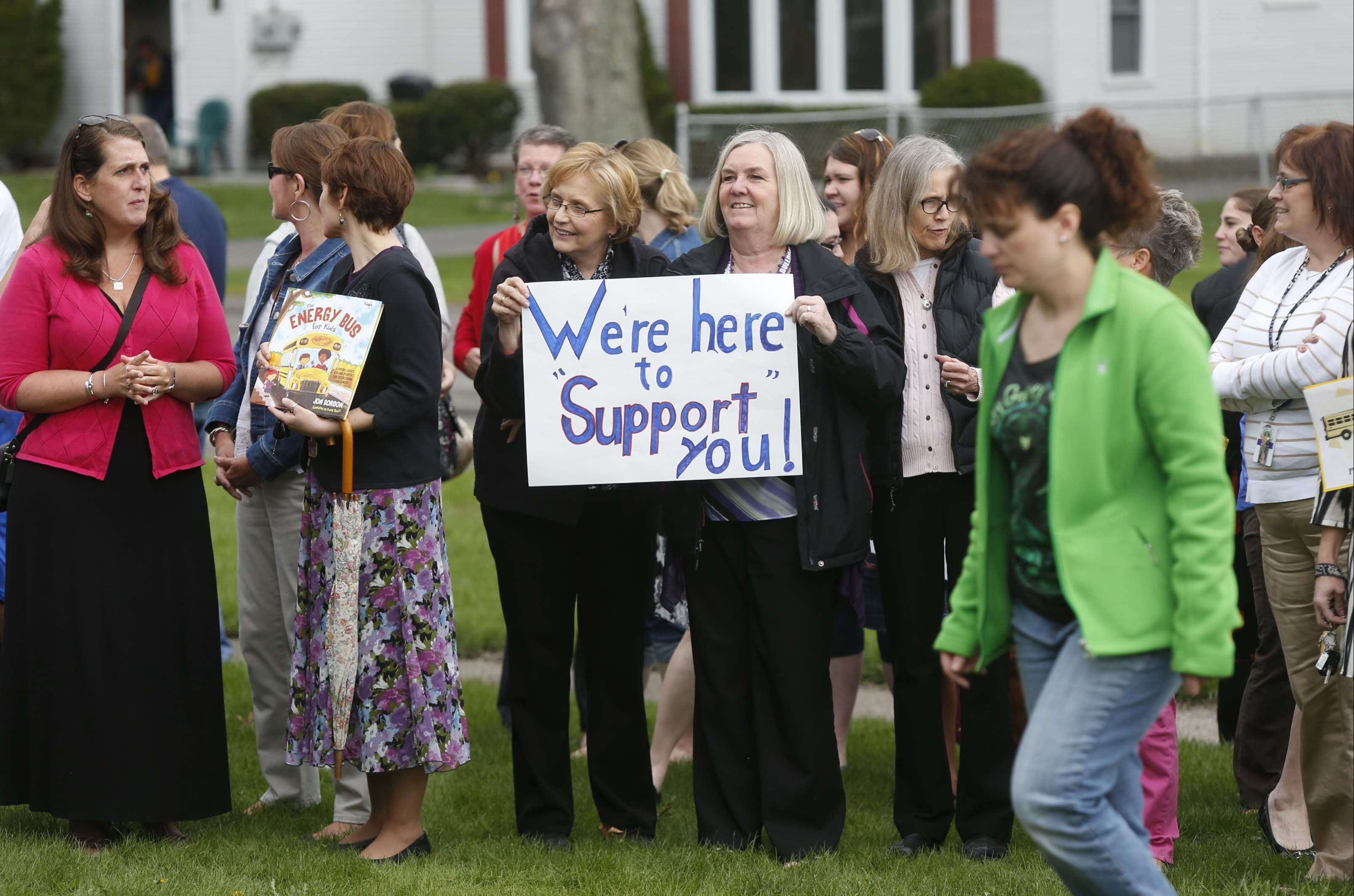 Members of the community rallied lasy week to show support for Hamburg School Superintendent Richard Jetter after his car was vandalized.  (Robert Kirkham/Buffalo News)