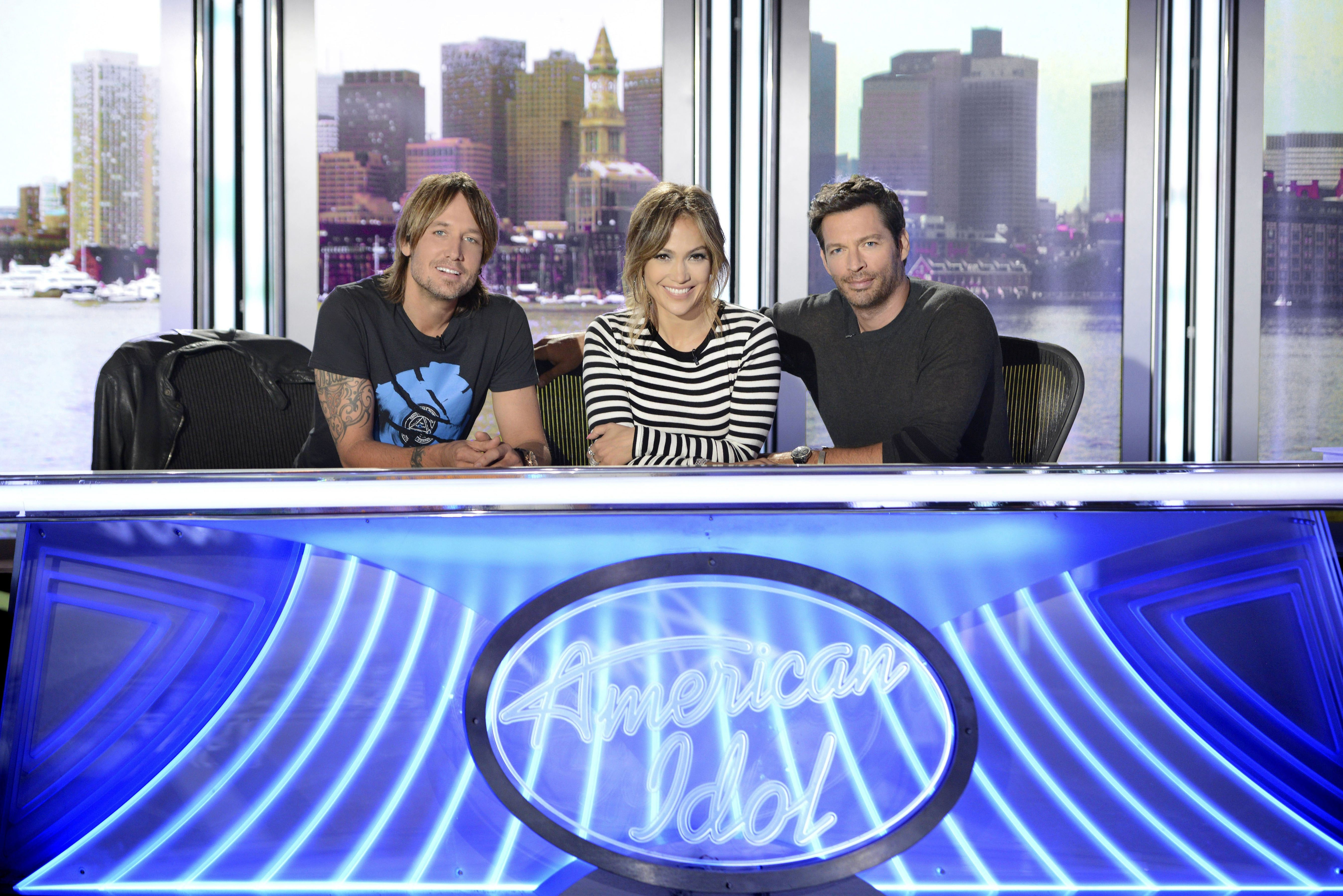 """Fox executives hope """"American Idol"""" judges, from left, Keith Urban,Jennifer Lopez and Harry Connick Jr. will return next season. The network is cutting back the show's hours because of falling ratings."""