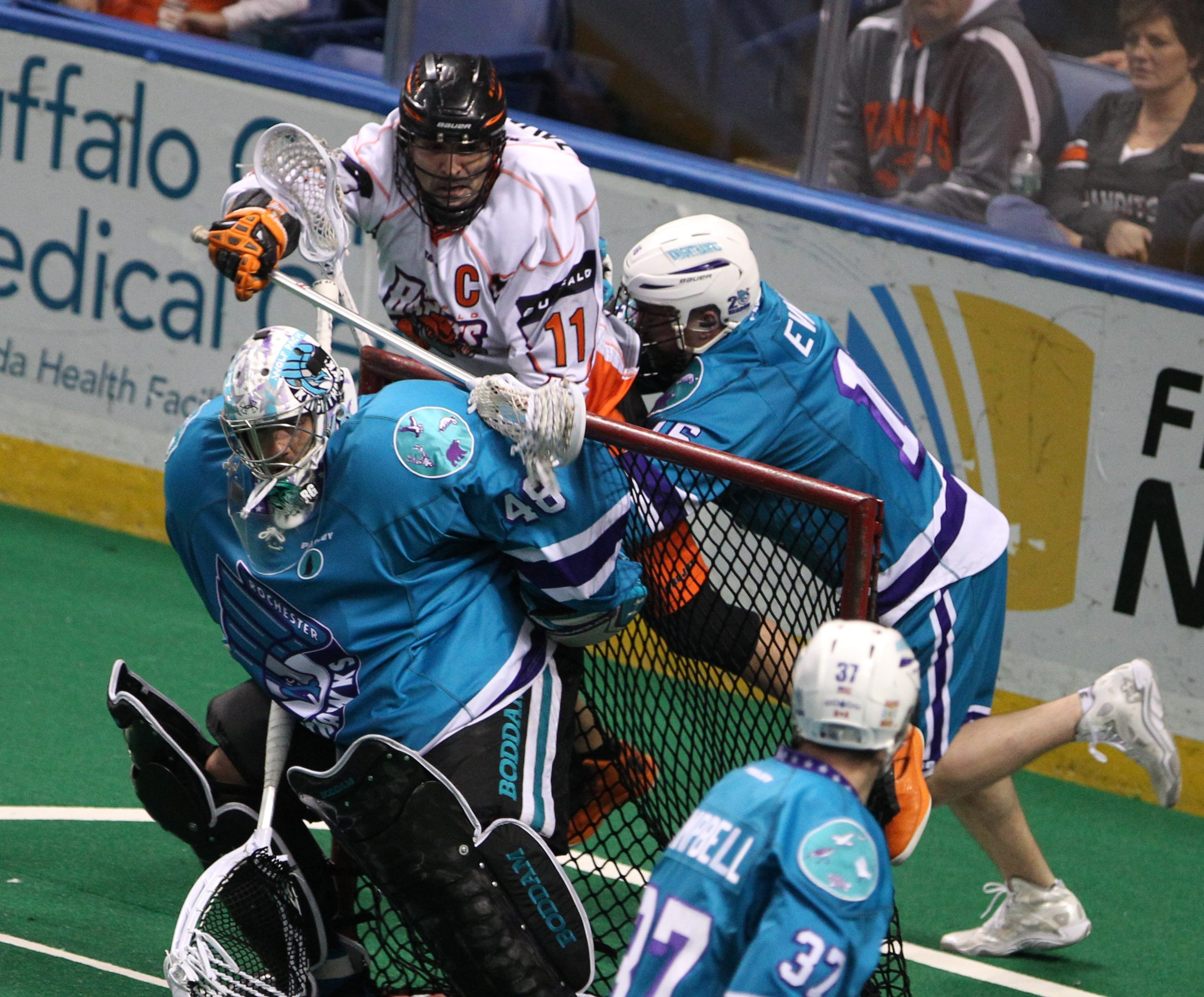 Bandits' John Tavares scores over the net with a shot in the second quarter. The same two teams meet in Rochester next Saturday.