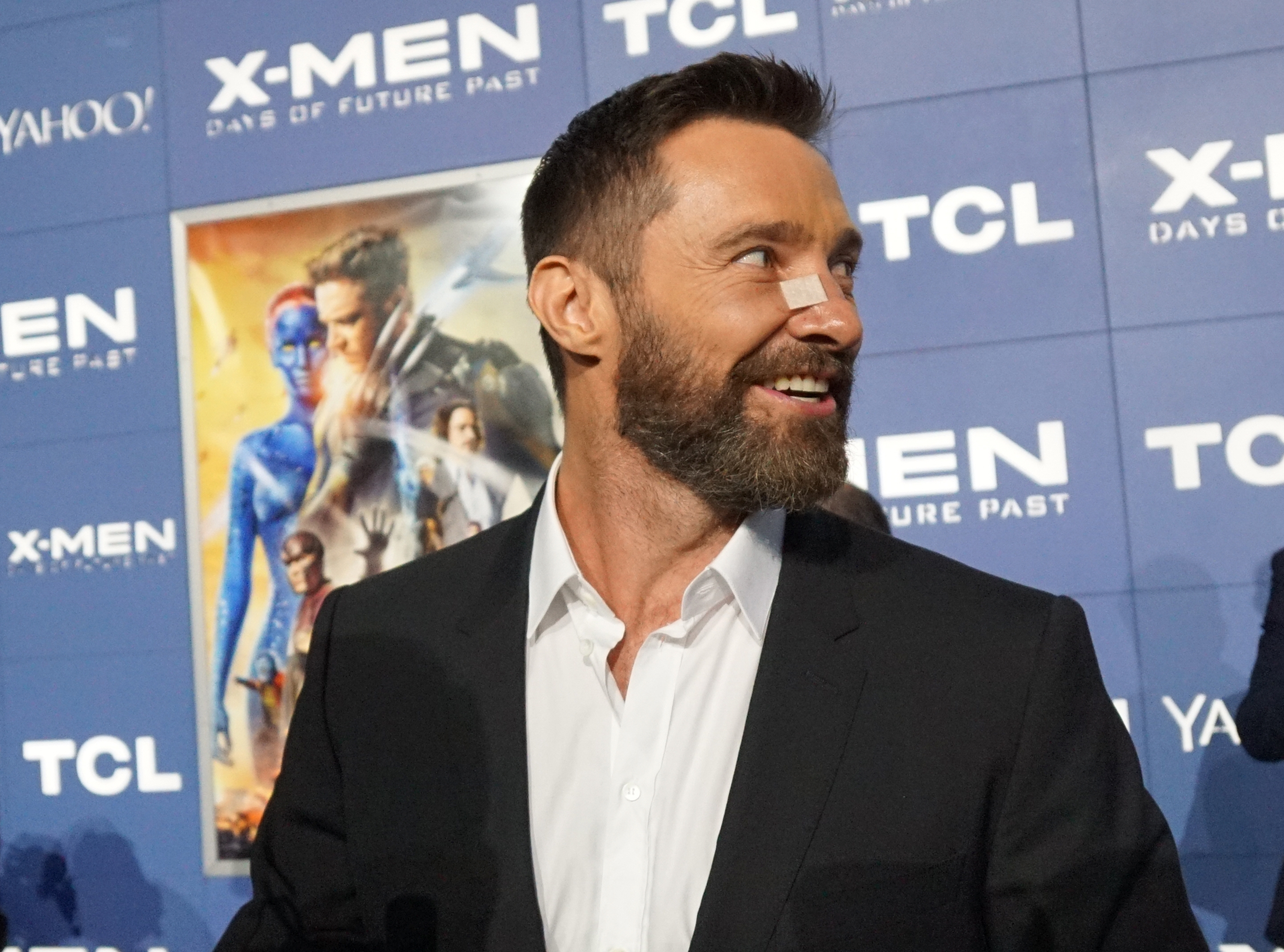 "Actor Hugh Jackman sported a bandage on his nose – from the removal of a cancerous growth – at  the ""X-Men: Days of Future Past"" world premiere in New York on Saturday."