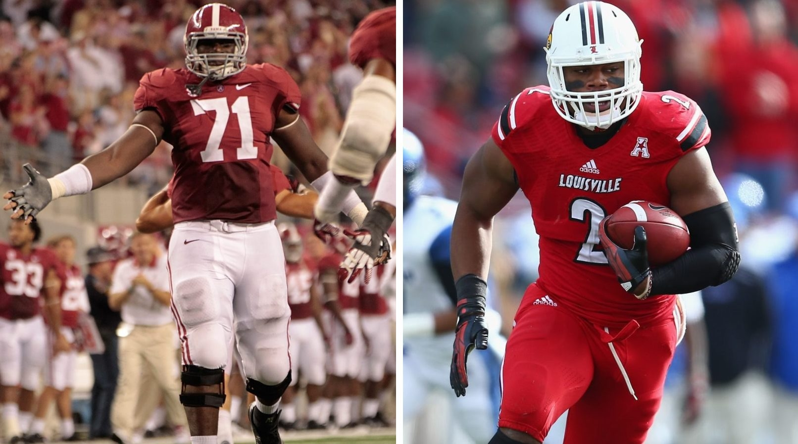 The newest additions to the Bills' roster are labama offensive tackle Cyrus Kouandjio, left, and Louisville linebacker Preston Brown.