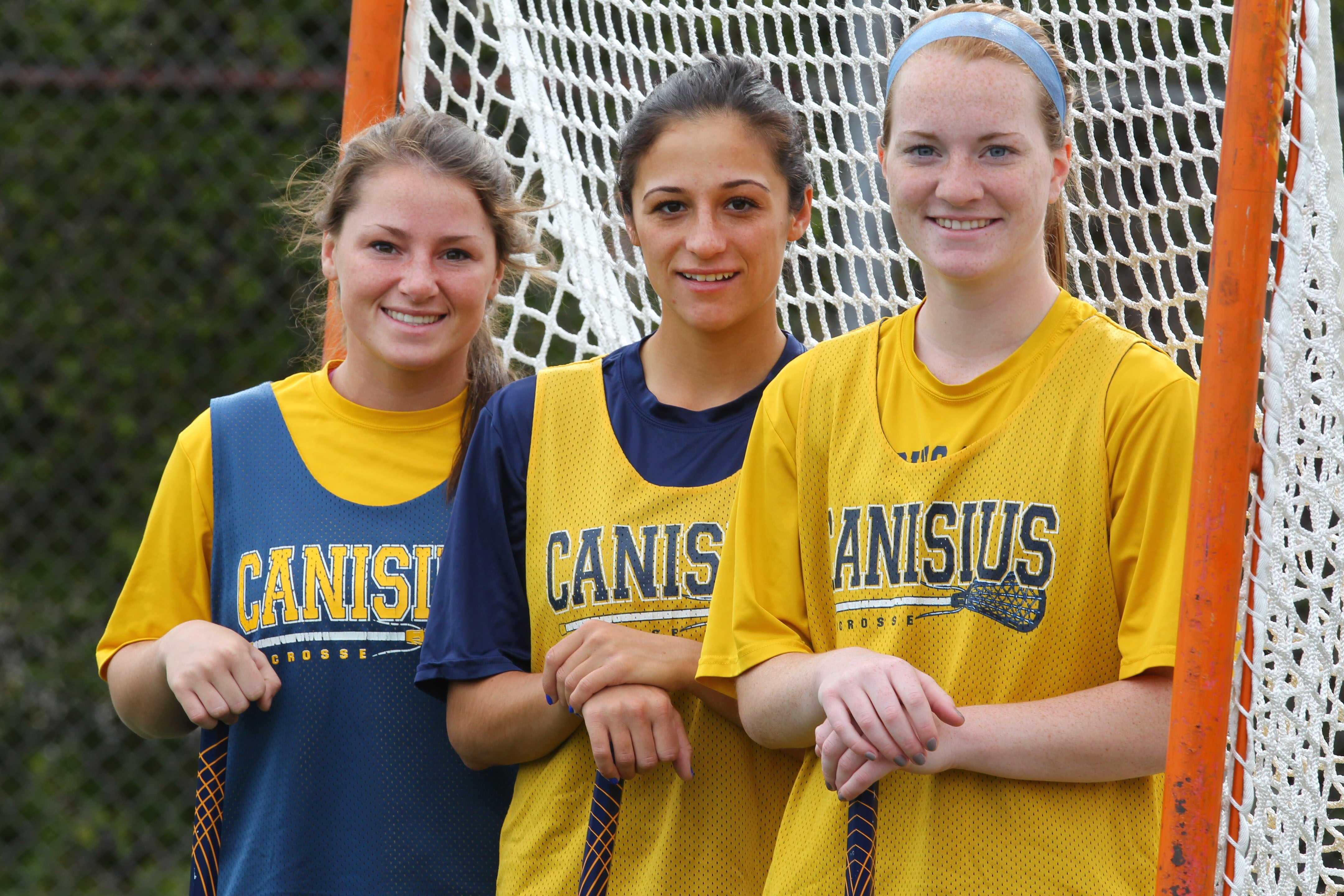 From left, Tori Quinn, Maria Kotas and Ashley Bull will lead Canisius against Penn today in the NCAAs.