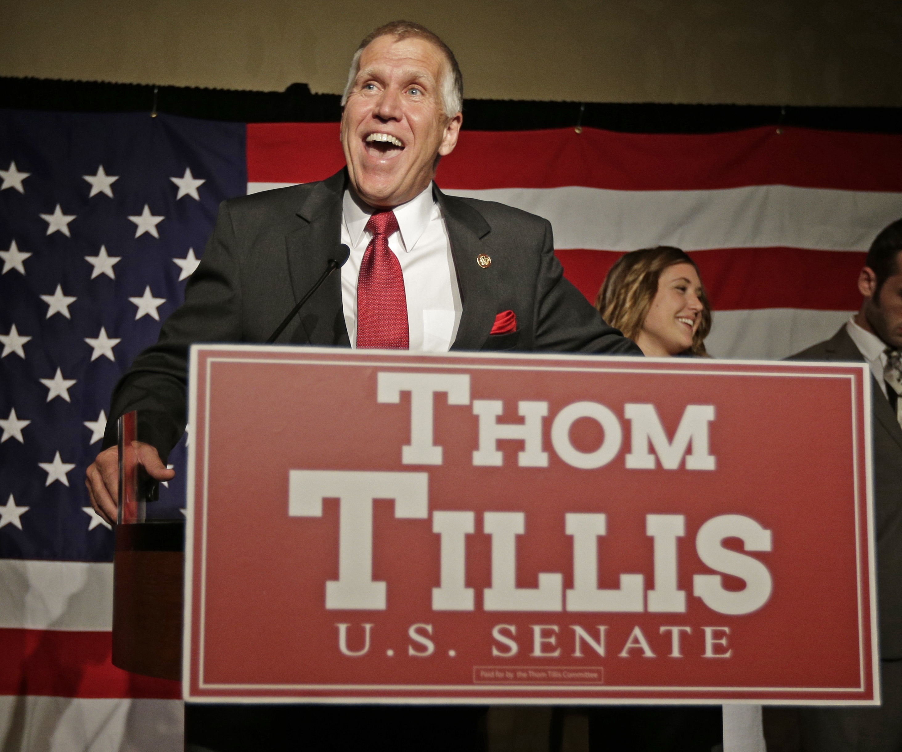 Thom Tillis speaks to supporters Tuesday at an election night rally in Charlotte, N.C. His race against Sen. Kay Hagan promises to be a rough one.