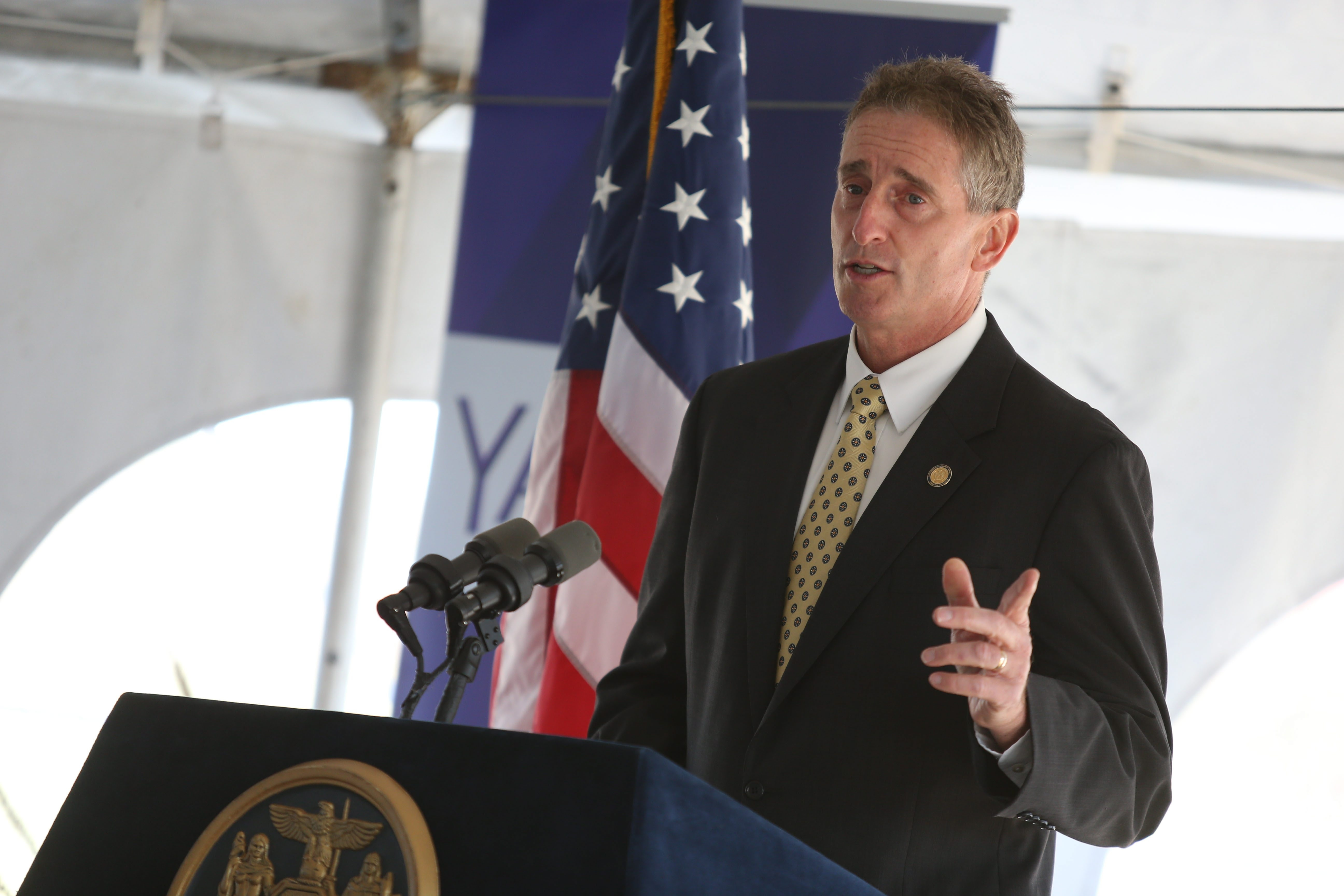 State Lt. Gov. Governor Robert J. Duffy has confirmed he won't be on the ticket with Gov. Cuomo this November, saying job has taken its toll on him. In this file photo, he speaks at a groundbreaking ceremony for the new Yahoo expansion in Lockport last fall.  (Charles Lewis/Buffalo News file photo)