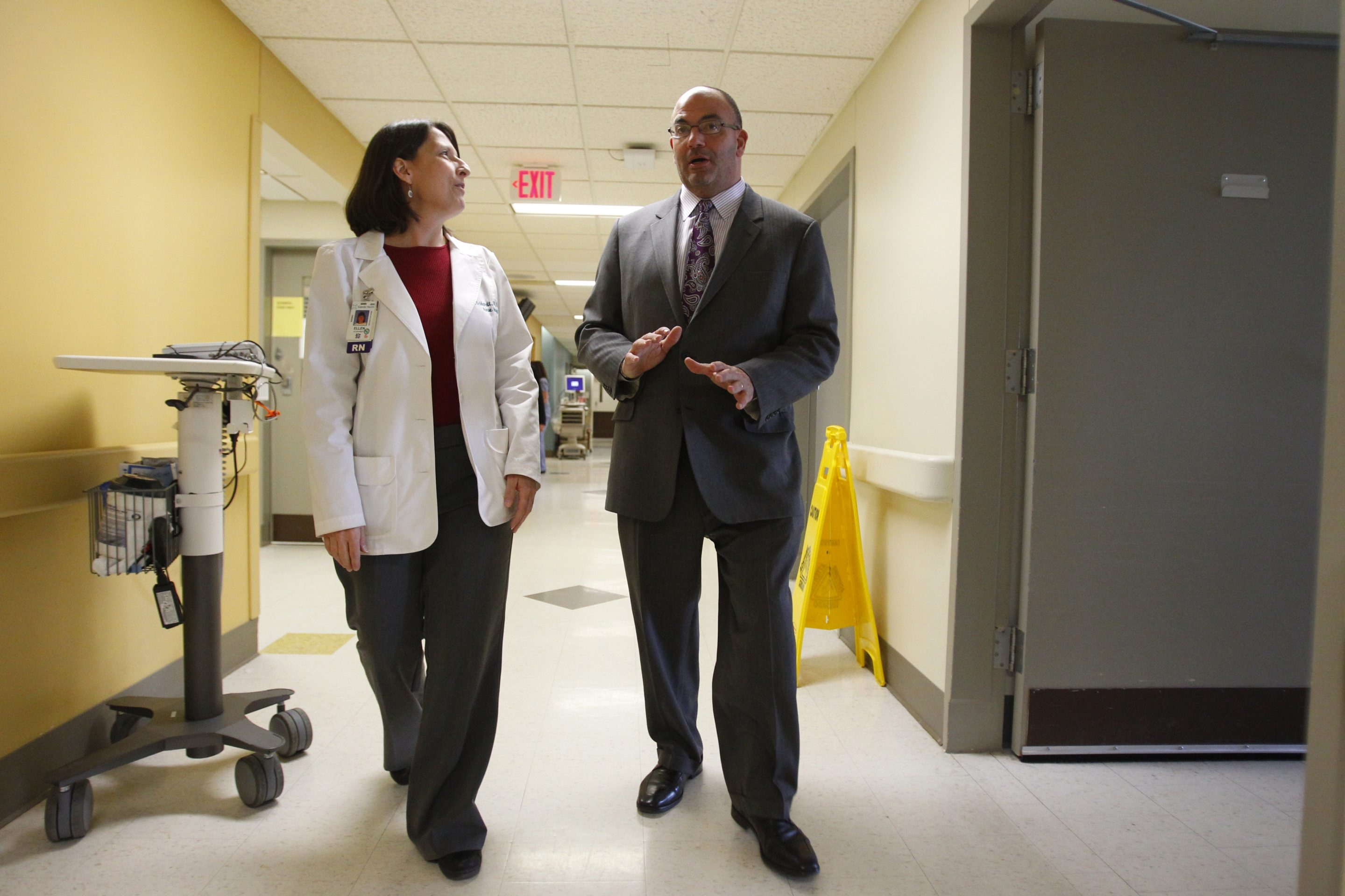 Jody L. Lomeo, Kaleida CEO, talks with registered nurse Ellen Eckhardt in Buffalo General Medical Center in this February photo. Lomeo has ordered all Kaleida executives to leave the Larkin at Exchange Building and return to the group's hospitals.