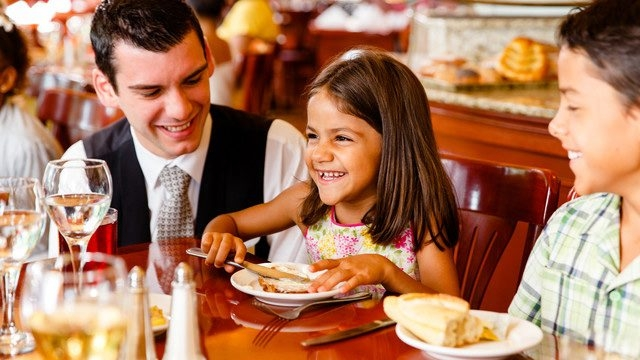 Young and old enjoy family-friendly Chefs de France and its French nouvelle cuisine.