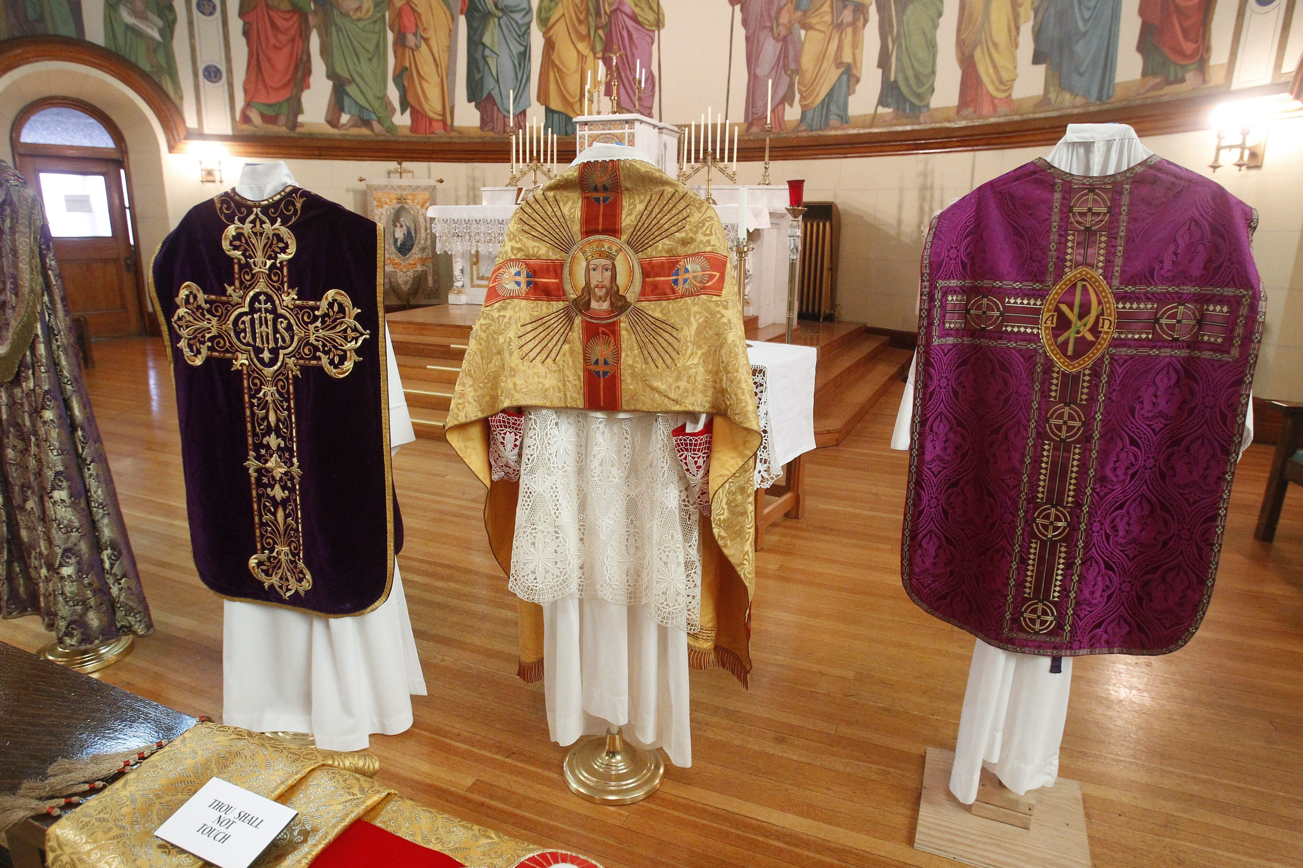 Ornately embroidered vestments, some hand-sewn more than a century ago by Black Rock women and others lent by an Ohio pastor, will be on display through Sunday at arts center, 157 East St.