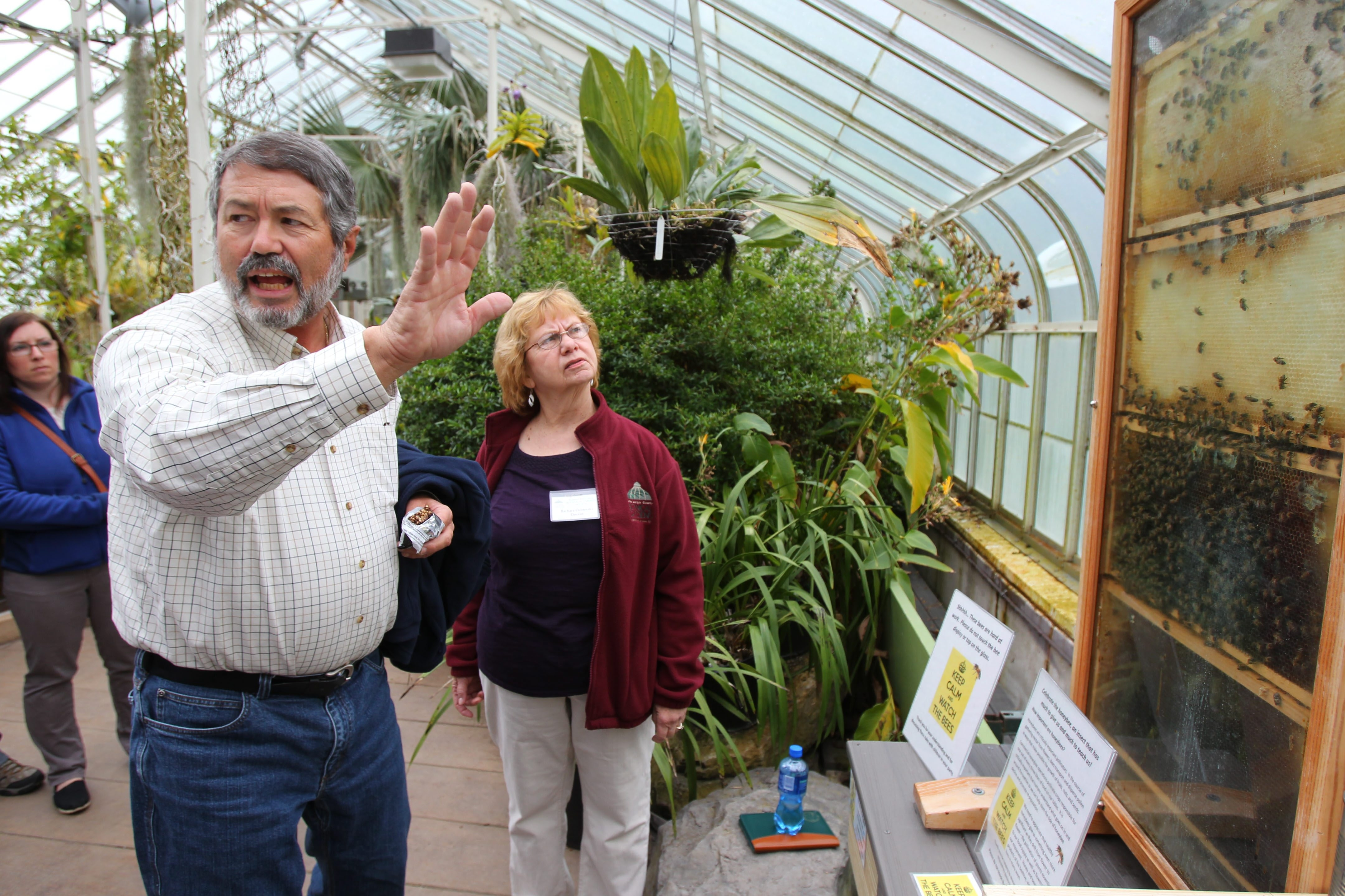 Beekeepers Joe DiDomenico and Barbara Ochterski talk about the features of a honeybee hive Saturday at the Buffalo and Erie County Botanical Gardens. Honeybees pollinate more than 90 crops that the U.S. Department of Agriculture values at $15 billion a year.
