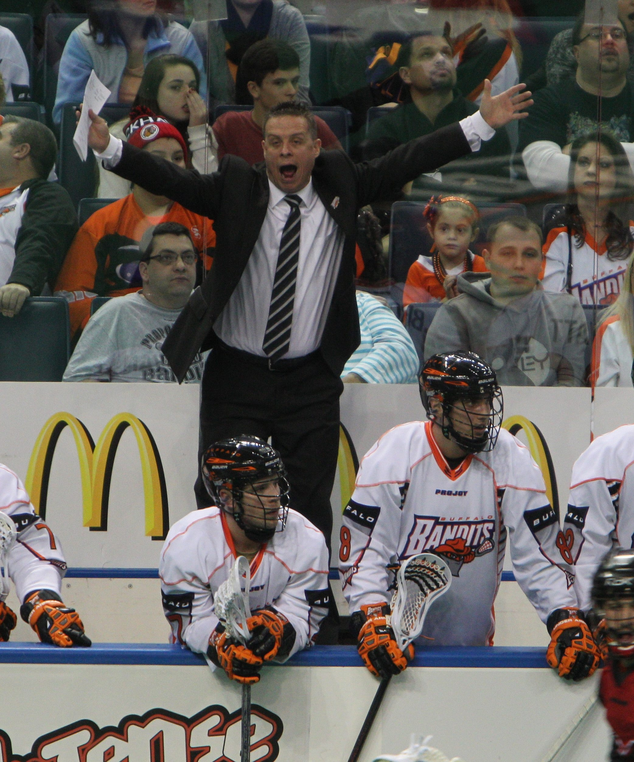 3 line cut her eBuffalo Bandits had their season opener at home against the Philadelphia Wings, Saturday, Dec. 28, 2013. Head coach Troy Cordingley yells from the bench. (Photo by)