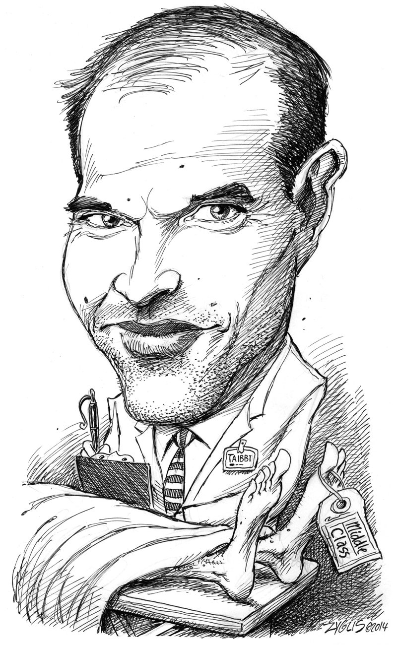 Former Rolling Stone journalist Matt Taibbi  examines the class divide in his latest book.  (Illustration by Adam Zyglis/Buffalo News)