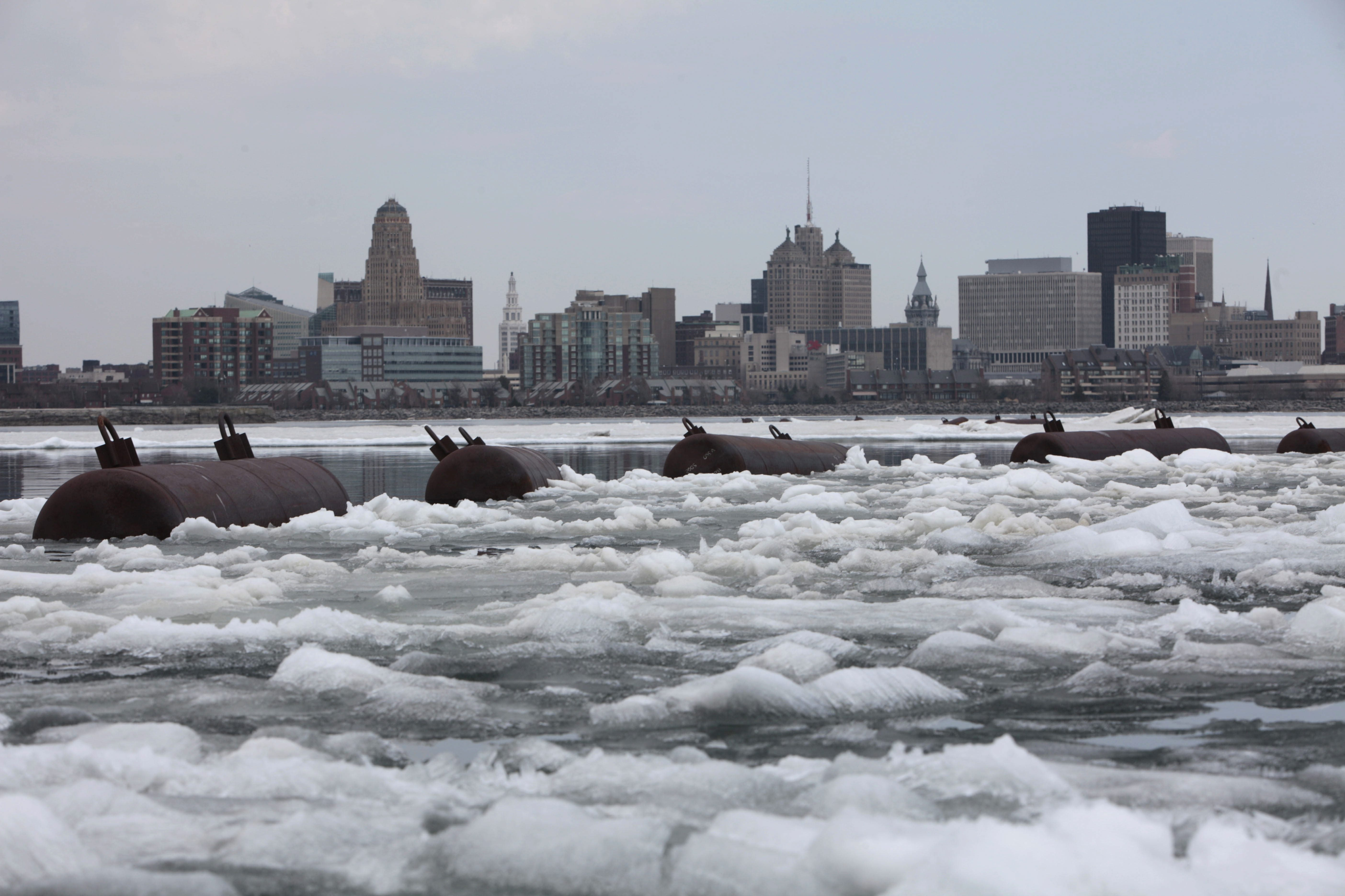 The ice boom holds back a massive layer of ice at Lake Erie's eastern edge, Friday, April 18, 2014.  (Derek Gee/Buffalo News)