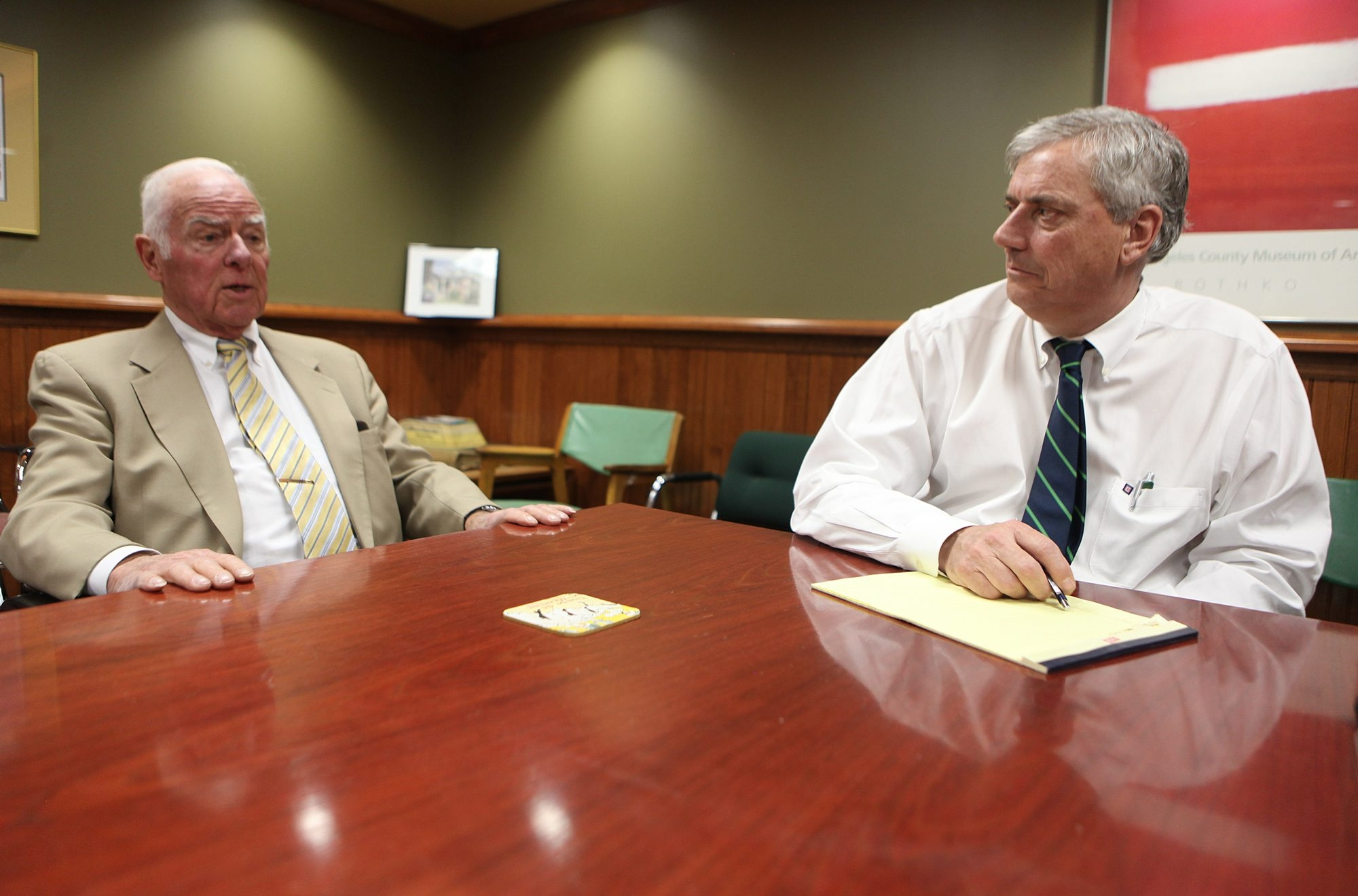 """Max Becker Jr., left, and Charles """"Sam"""" Gurney, of Gurney, Becker & Bourne, in their Buffalo offices, Wednesday, April 9, 2014.   (Charles Lewis/Buffalo News)"""