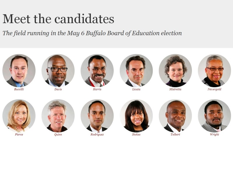 Candidates for the Buffalo School Board's at-large seat election in 2014.