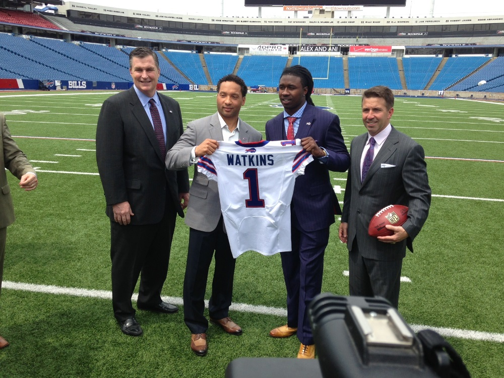 Sammy Watkins is introduced at One Bills Drive today with, from left, Bills head coach Doug Marrone and general manager Doug Whaley and Bills president and CEO and Russ Brandon, right. (John Hickey/Buffalo News)