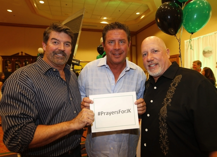 From left, former Bills punter John Kidd, Dan Marino and Ray Kelly, brother of Jim, attend Sunday night's charity reception for Jim Kelly's celebrity golf tournament. (Robert Kirkham/Buffalo News)