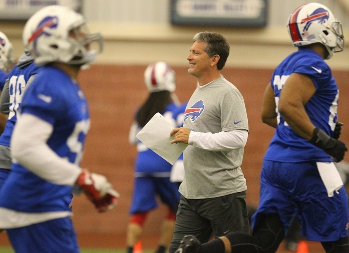 Bills defensive coordinator Jim Schwartz, coaching during OTA's at Ralph Wilson Stadium this week, is the fourth defensive coordinator for the Bills in the past four seasons. (Mark Mulville/Buffalo News)