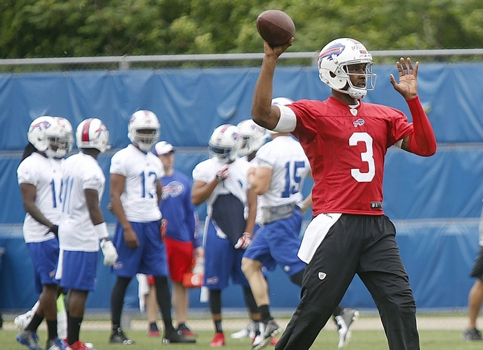 "Bills head coach Doug Marrone is ""really excited"" about where quarterback EJ Manuel is in his  development. (Robert Kirkham/Buffalo News)"