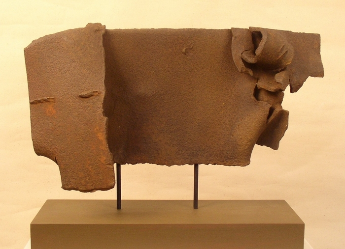 """Ram,"" a sculpture made from a piece of found metal, is on view in the TGW@497 Gallery's show ""ProFound Objects."""