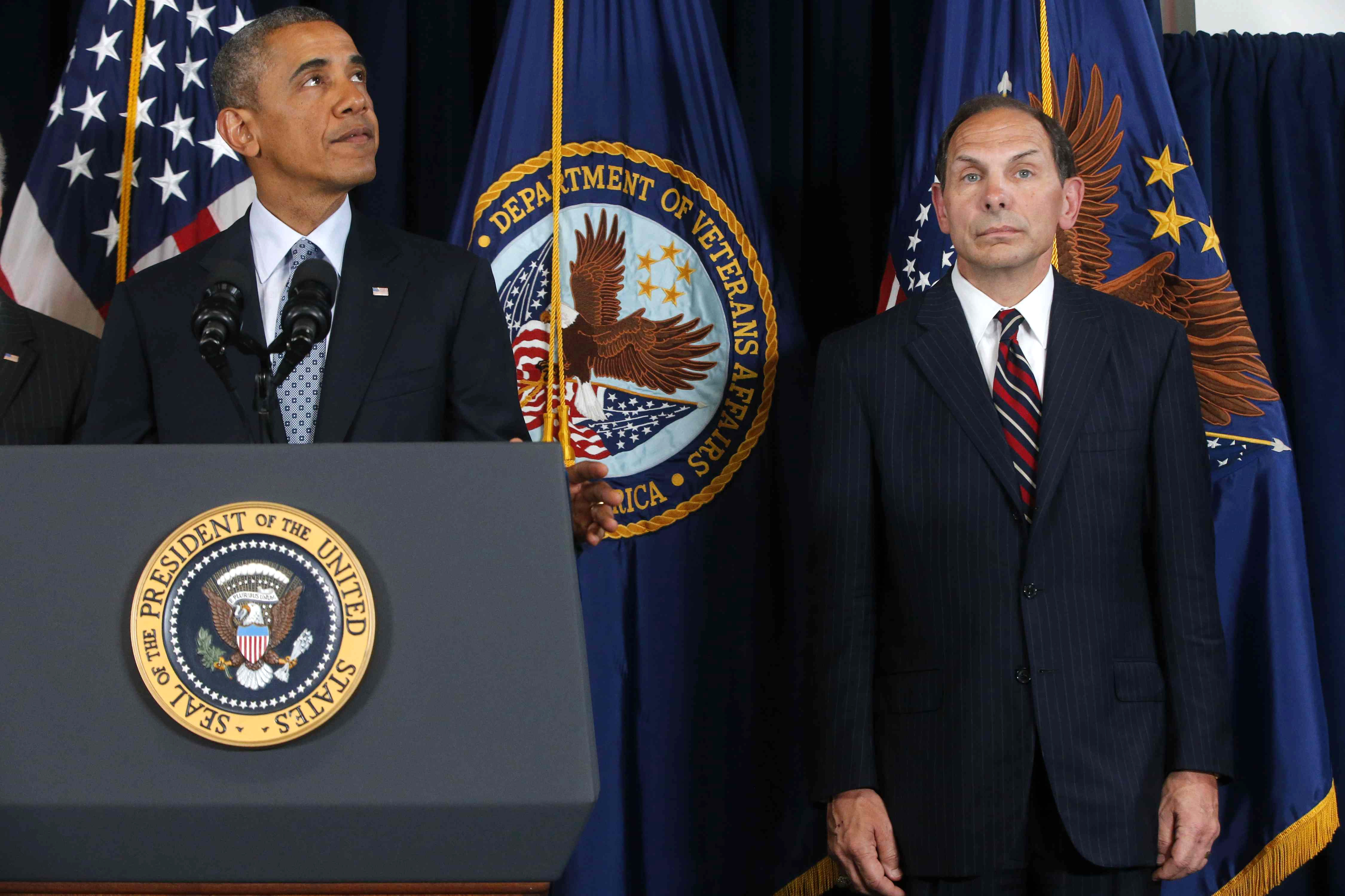 President Obama has handed former Procter & Gamble executive Robert McDonald, right,the difficult task of revamping the Department of Veterans Affairs. (AP photo)
