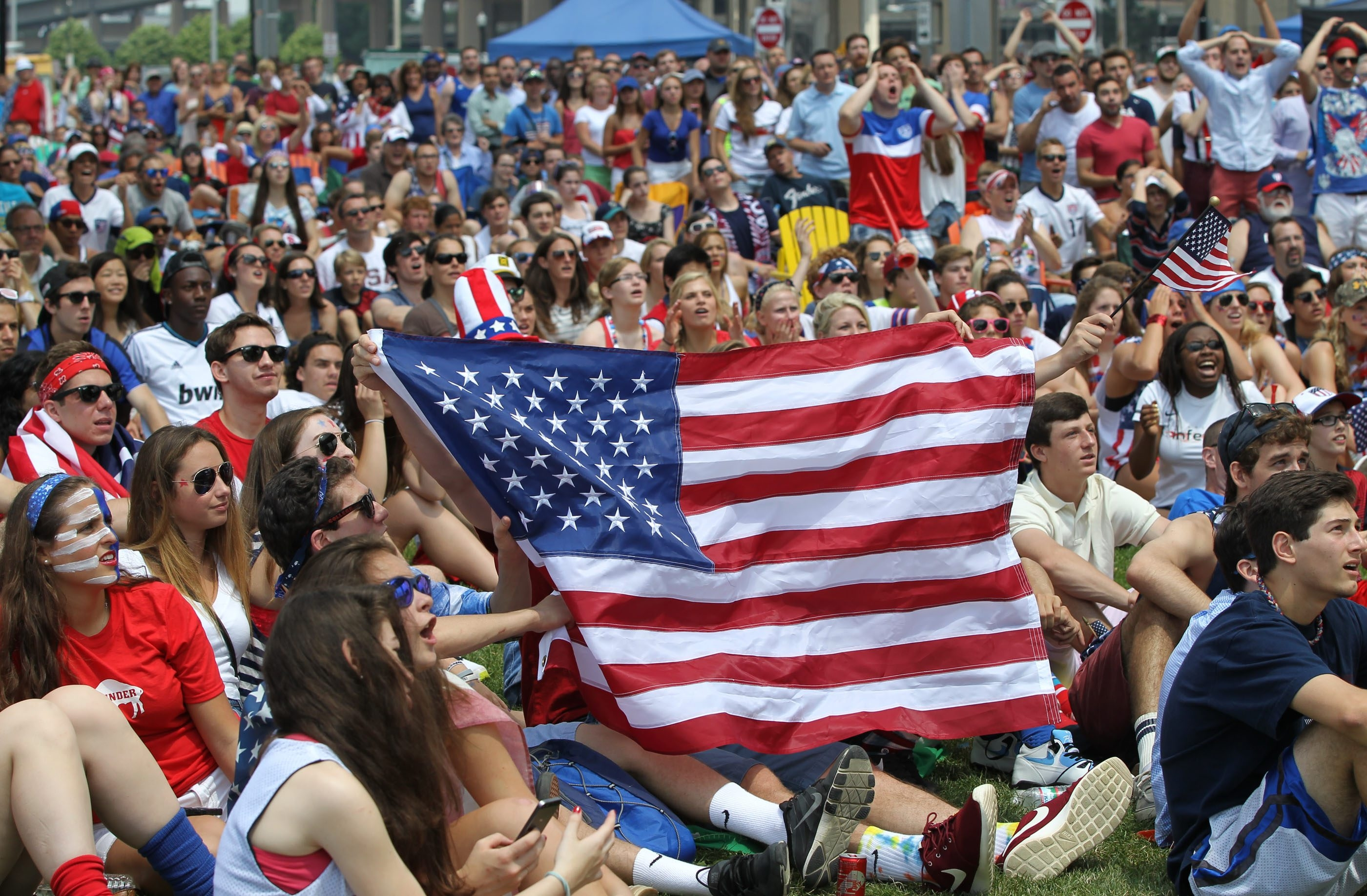 Thousands of USA fans  watch the USA vs German World Cup soccer on large screen TV's at Canalside in Buffalo,NY on Thursday, June 26, 2014.  (James P. McCoy/ Buffalo News)