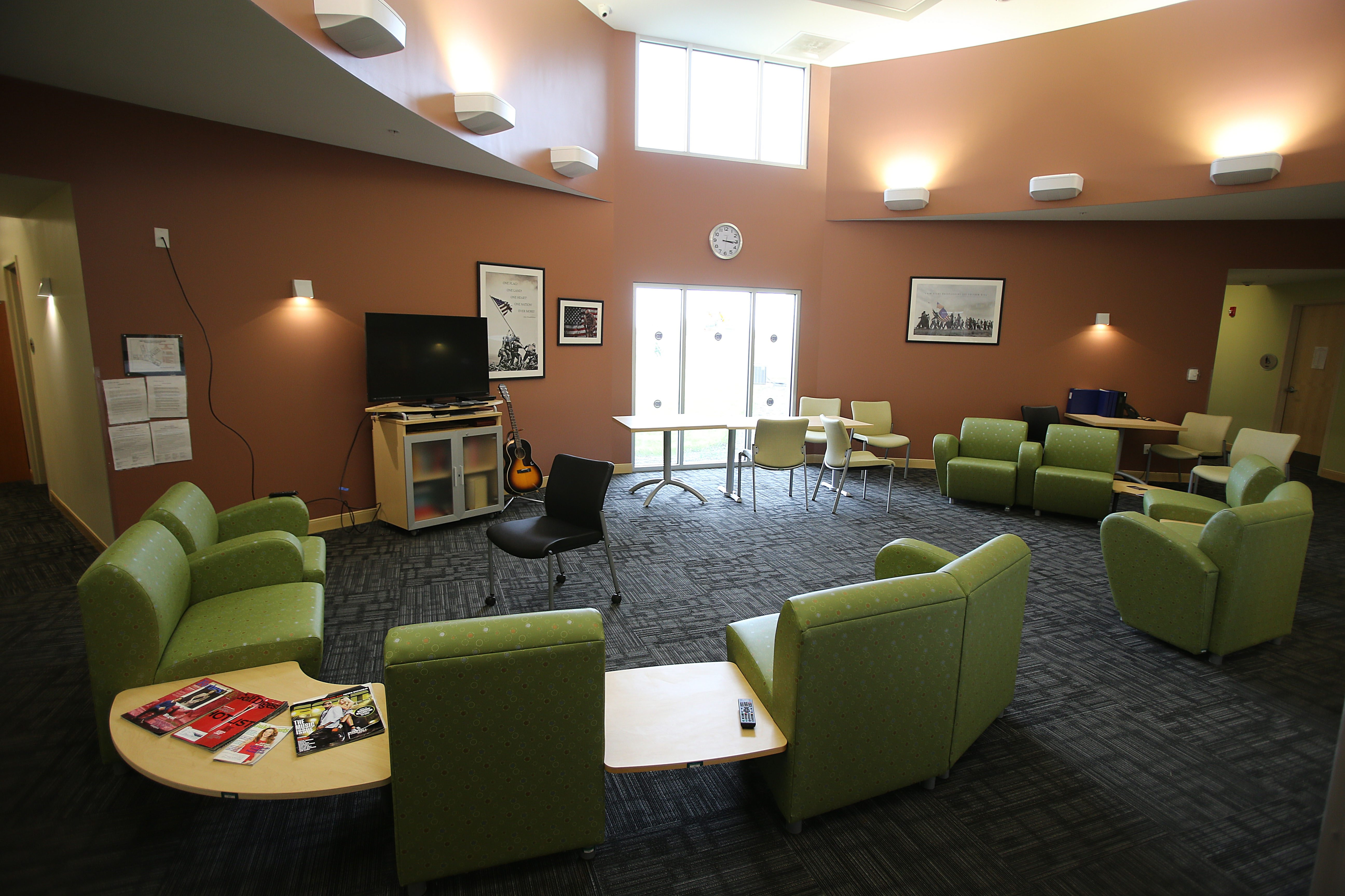 The common room at Horizon Village's Veteran's Residential Treatment Facility in Sanborn on May 16.