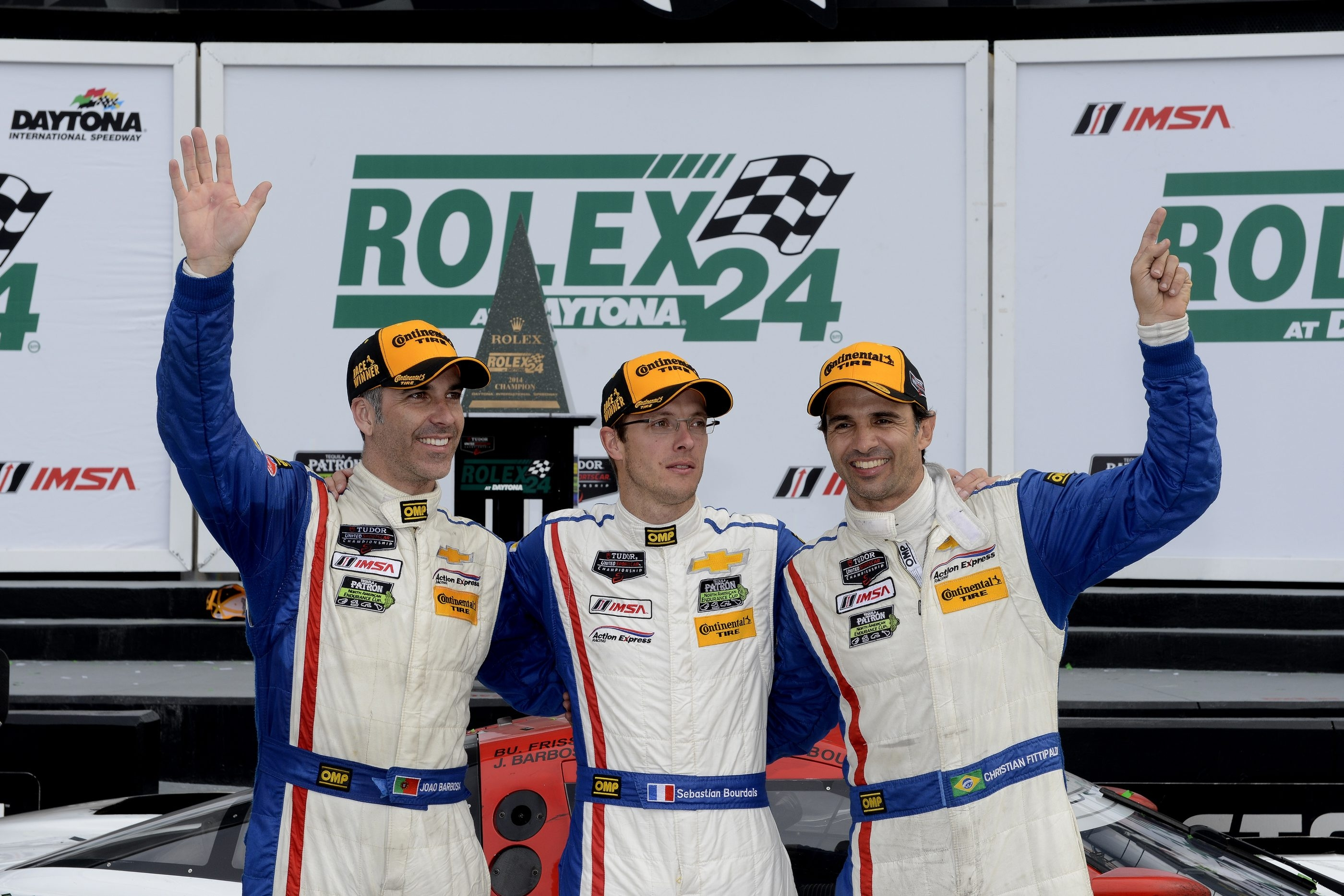 Joao Barbosa, left, and Christian Fittipaldi, center, will be without teammate Sebastien Bourdais as they race in the Sahlen's Six Hours of The Glen on Sunday.